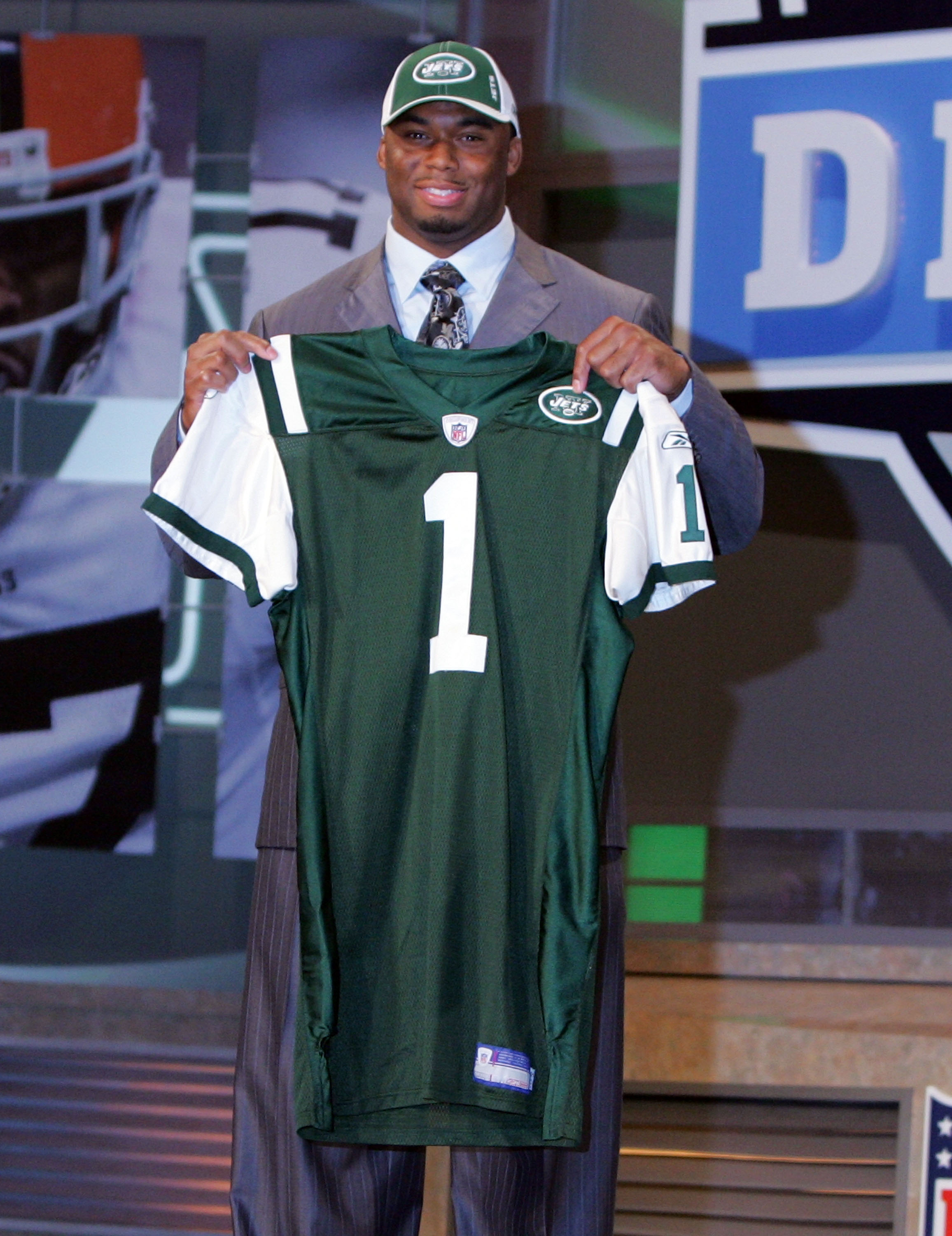 NEW YORK - APRIL 26:  Vernon Gholston poses for a photo after being selected as the sixth overall pick by the New York Jets during the 2008 NFL Draft on April 26, 2008 at Radio City Music Hall in New York City.  (Photo by Jim McIsaac/Getty Images)
