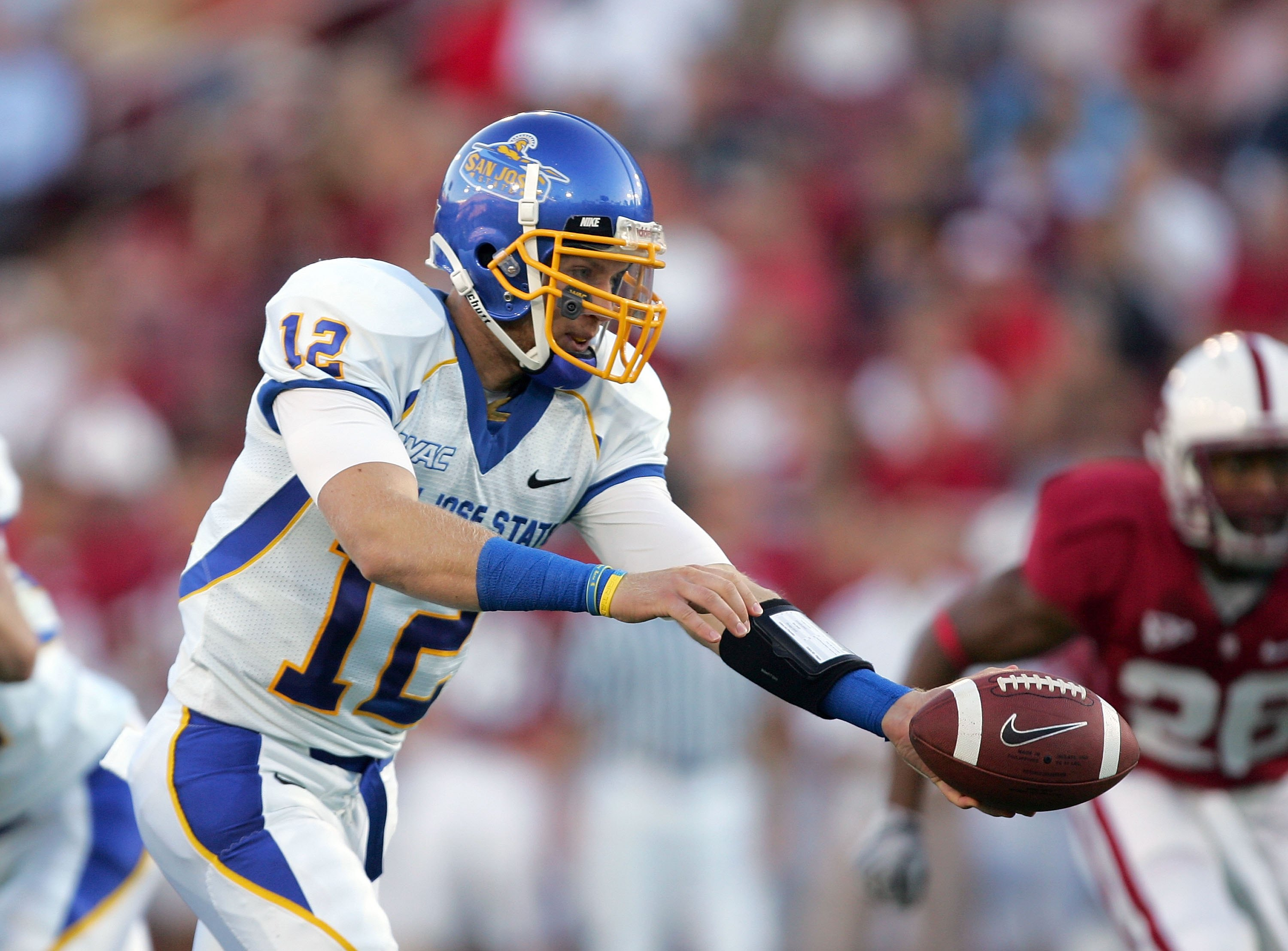 PALO ALTO, CA - SEPTEMBER 19:  Jordan La Secia #12 of the San Jose State Spartans in action during their game against the Stanford Cardinal at Stanford Stadium on September 19, 2009 in Palo Alto, California.  (Photo by Ezra Shaw/Getty Images)