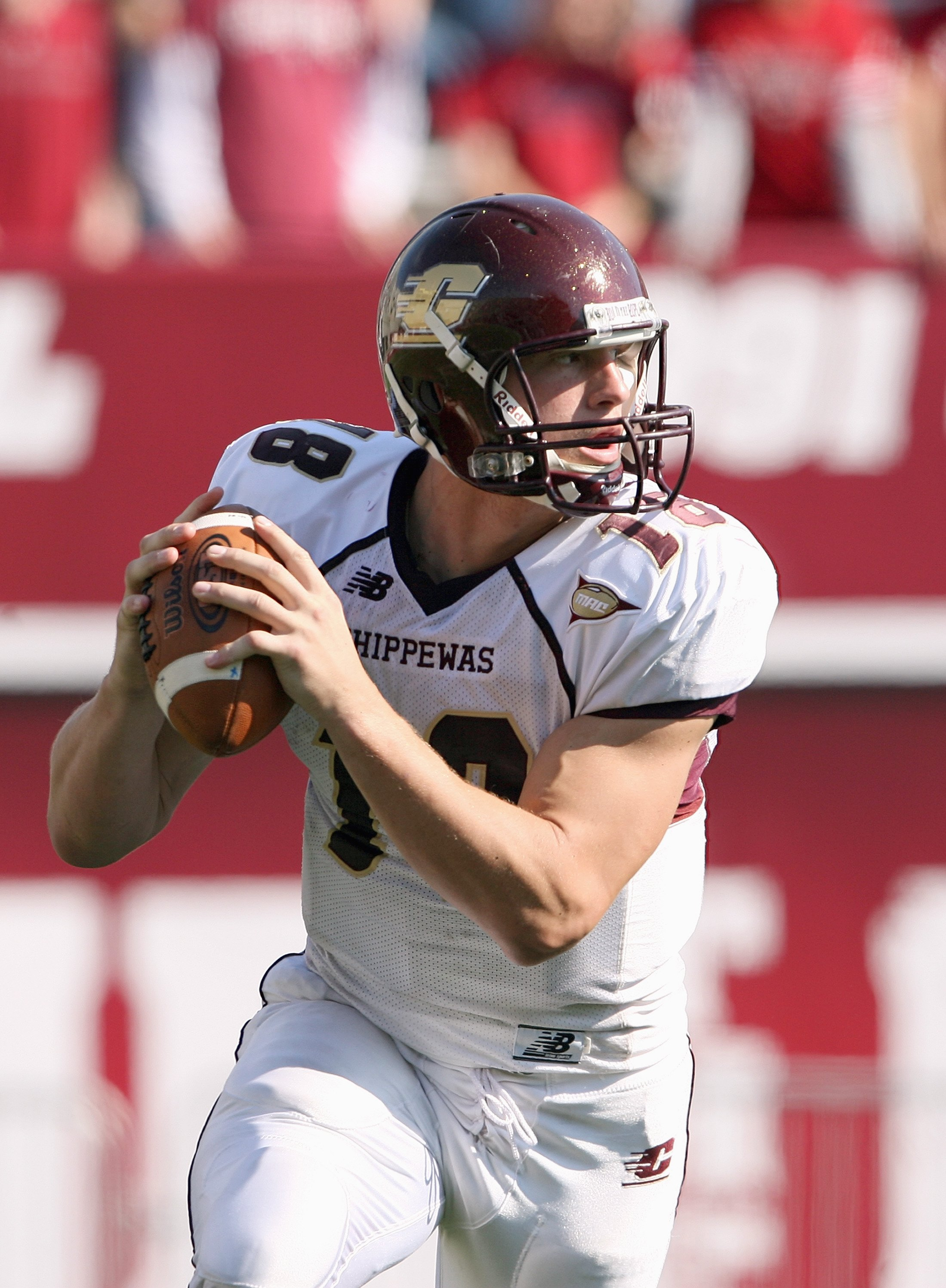 BLOOMINGTON, IN - NOVEMBER 01:  Quarterback Brian Brunner #18 of the Central Michigan Chippewas moves to pass the ball during the game against the Indiana Hooisers at Memorial Stadium on November 1, 2008 in Bloomington, Indiana.  (Photo by Andy Lyons/Gett