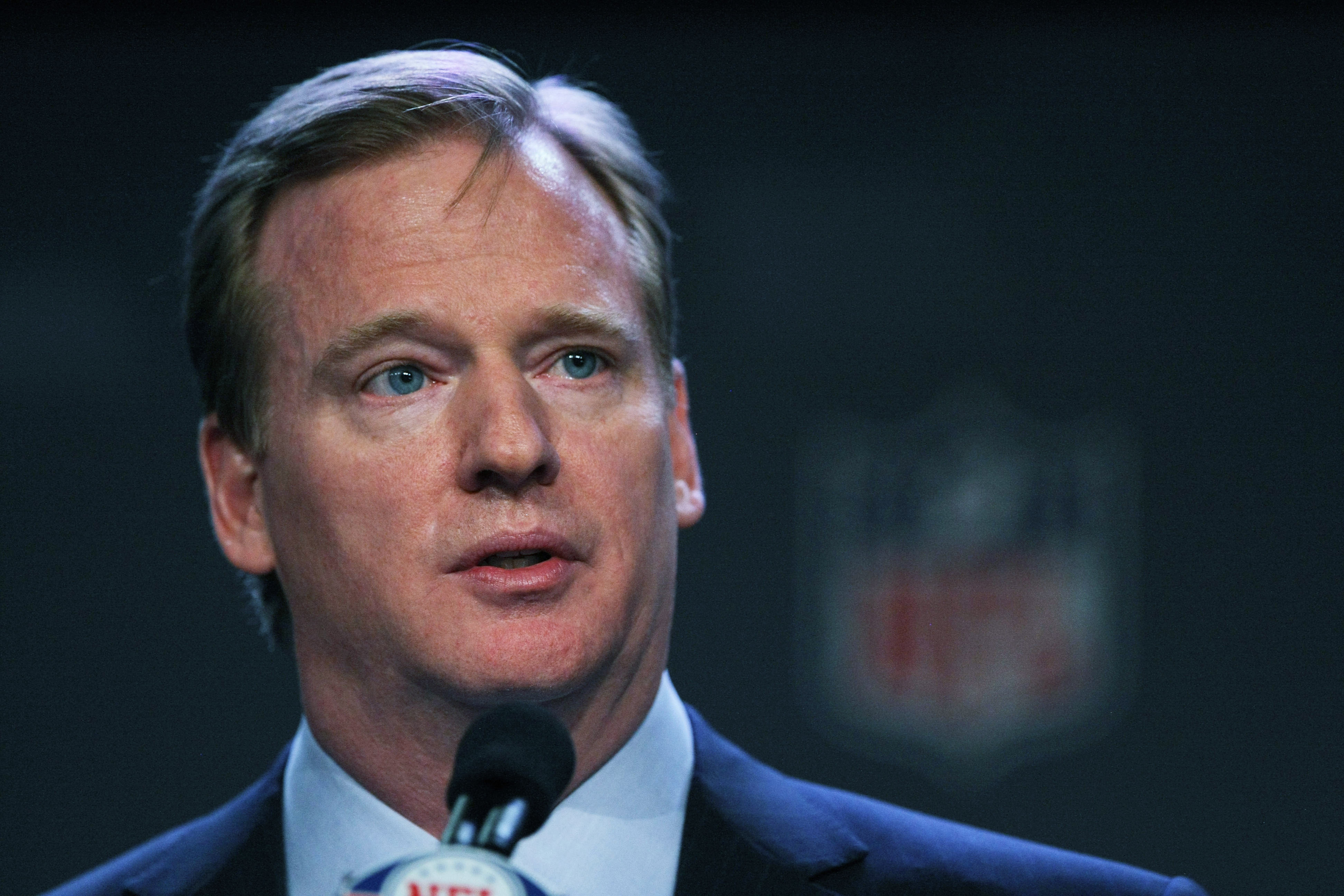 DALLAS, TX - FEBRUARY 04:  NFL commissioner Roger Goodell speaks during a press conference at the Super Bowl XLV media center on February 4, 2011 in Dallas, Texas. The Green Bay Packers will play the Pittsburgh Steelers in Super Bowl XLV on February 6, 20