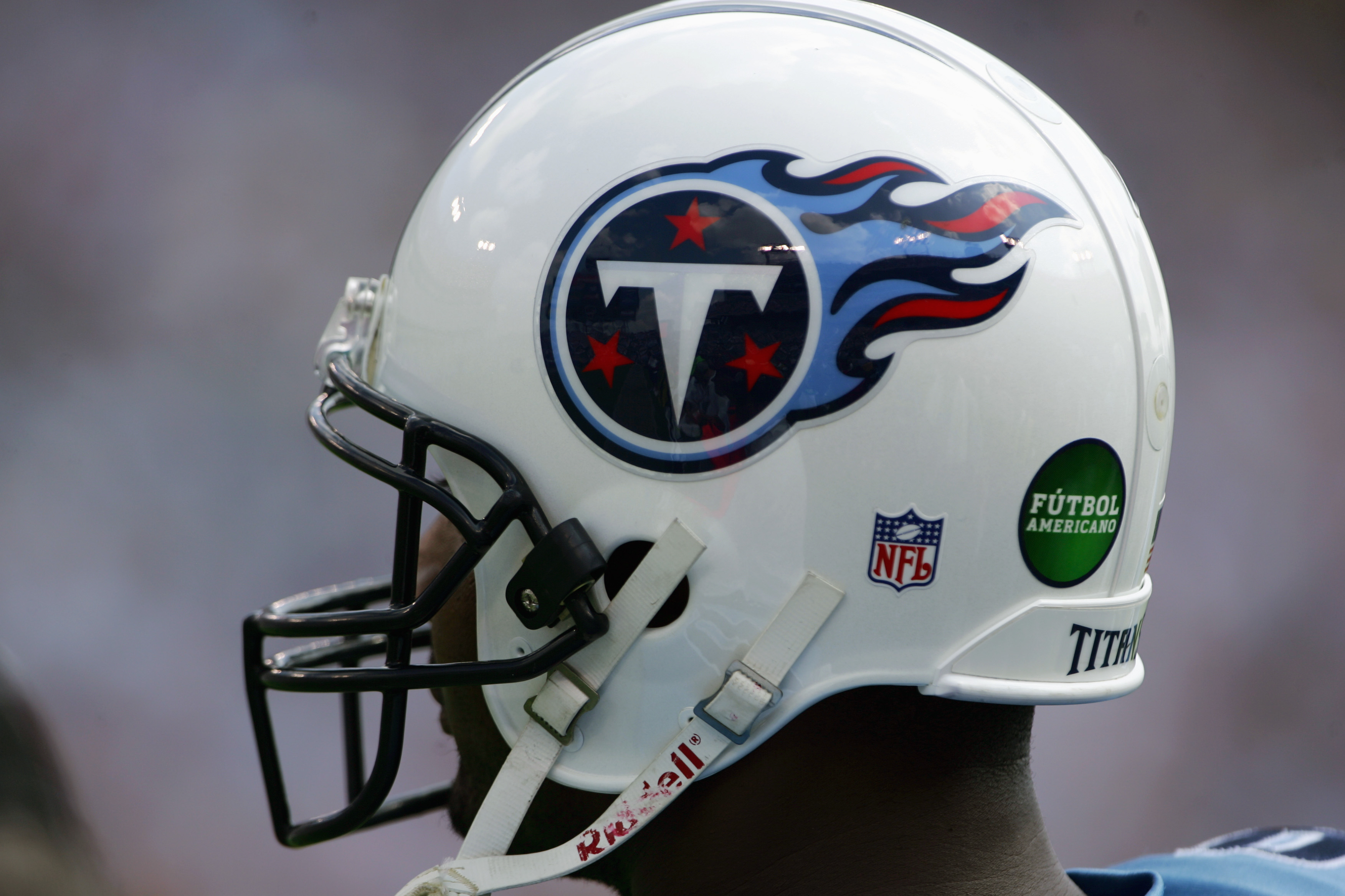 NASHVILLE, TN - OCTOBER 2:  A Tennessee Titans helmet displays the Futbol Americano logo during the game against the Indianapolis Colts at The Coliseum on October 2, 2005 in Nashville, Tennessee. The Colts defeated the Titans 31-10.  (Photo by Doug Pensin
