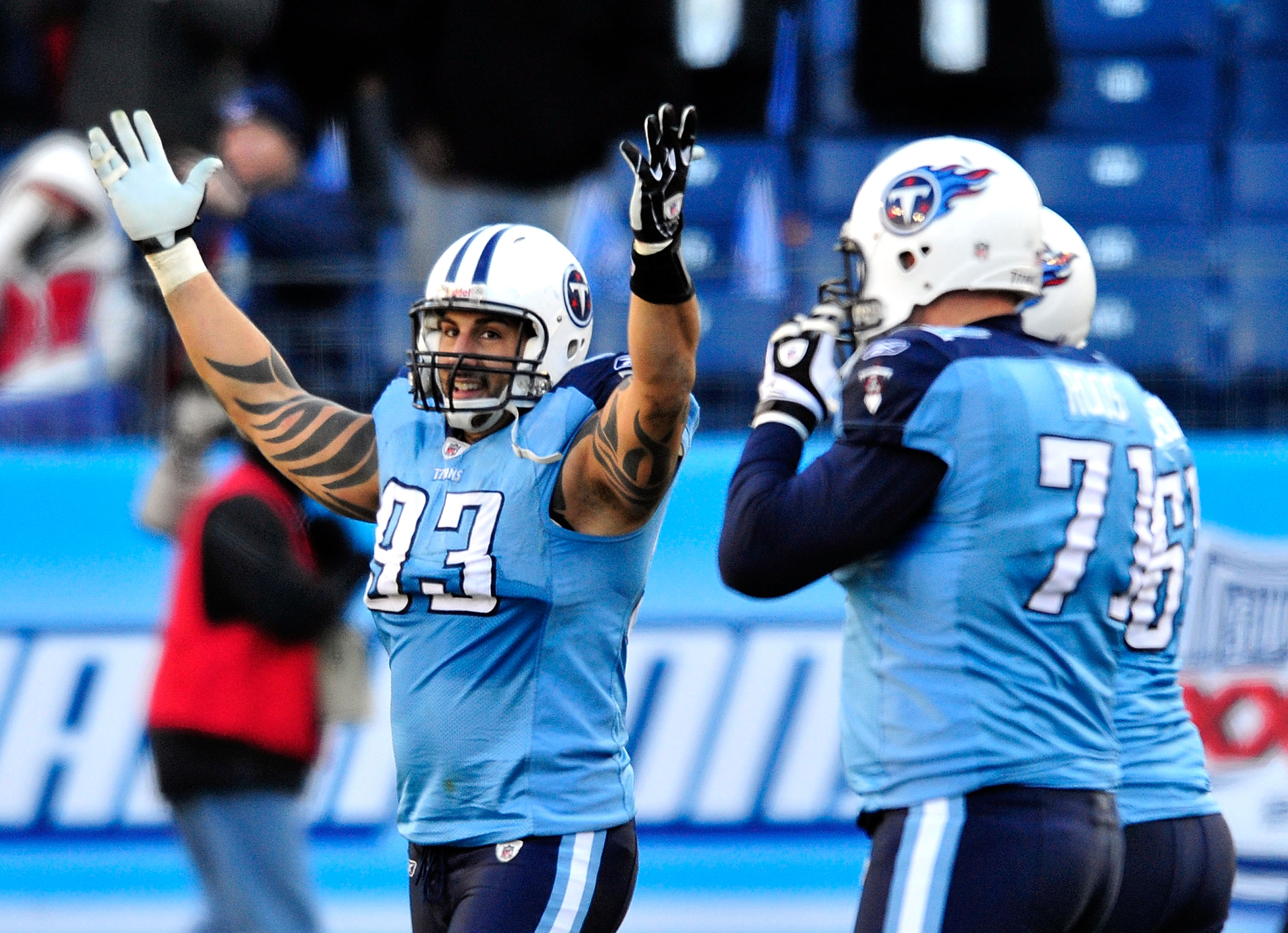 NASHVILLE, TN - DECEMBER 19:  Jason Babin #93 of the Tennessee Titans celebrates after a defensive stop against the Houston Texans to seal the win at LP Field on December 19, 2010 in Nashville, Tennessee. The Titans defeated the Texans, 31-17.  (Photo by