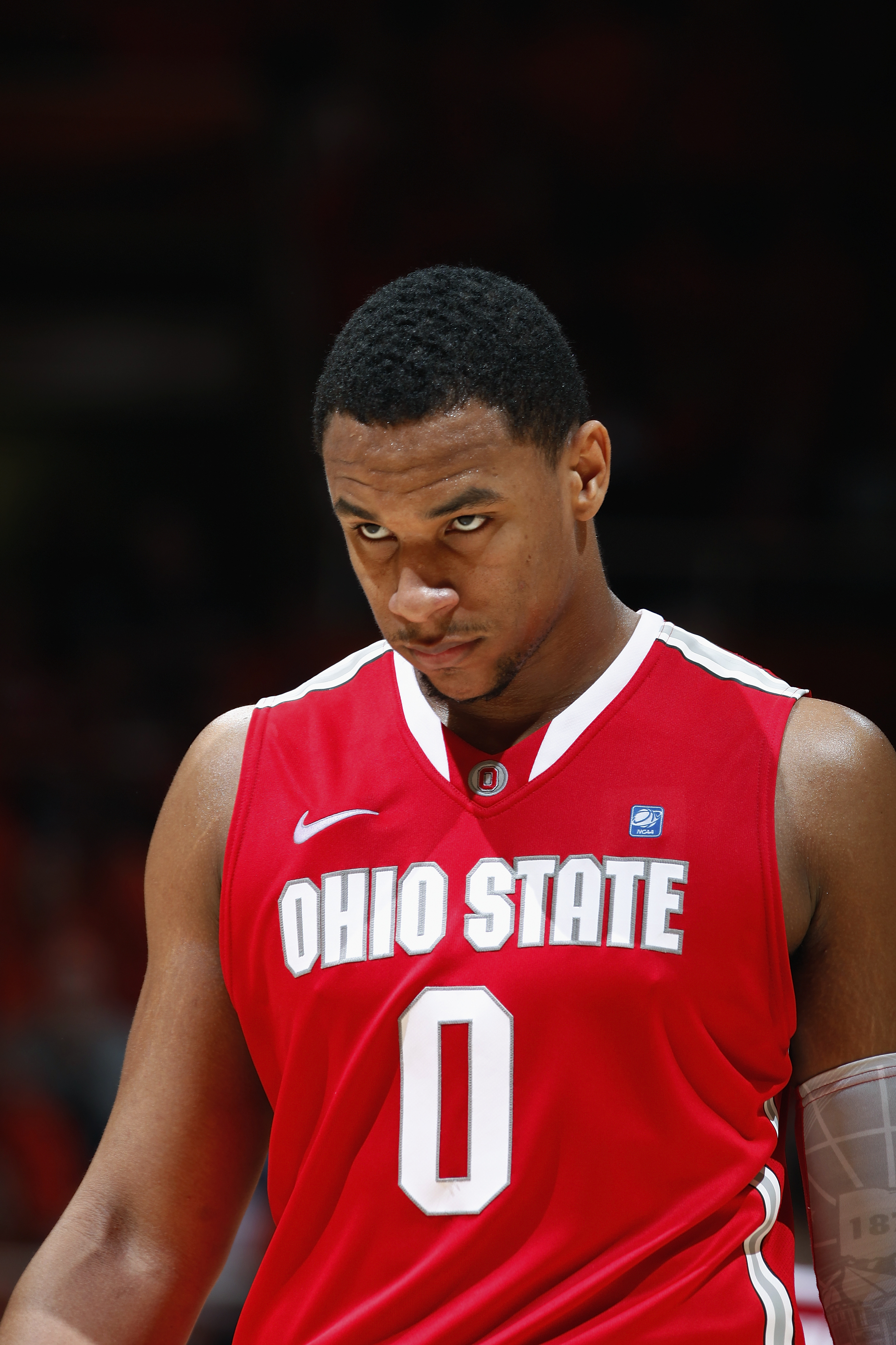 CHAMPAIGN, IL - JANUARY 22: Jared Sullinger #0 of the Ohio State Buckeyes looks on late in the game against the Illinois Fighting Illini at Assembly Hall on January 22, 2011 in Champaign, Illinois. Ohio State won 73-68. (Photo by Joe Robbins/Getty Images)