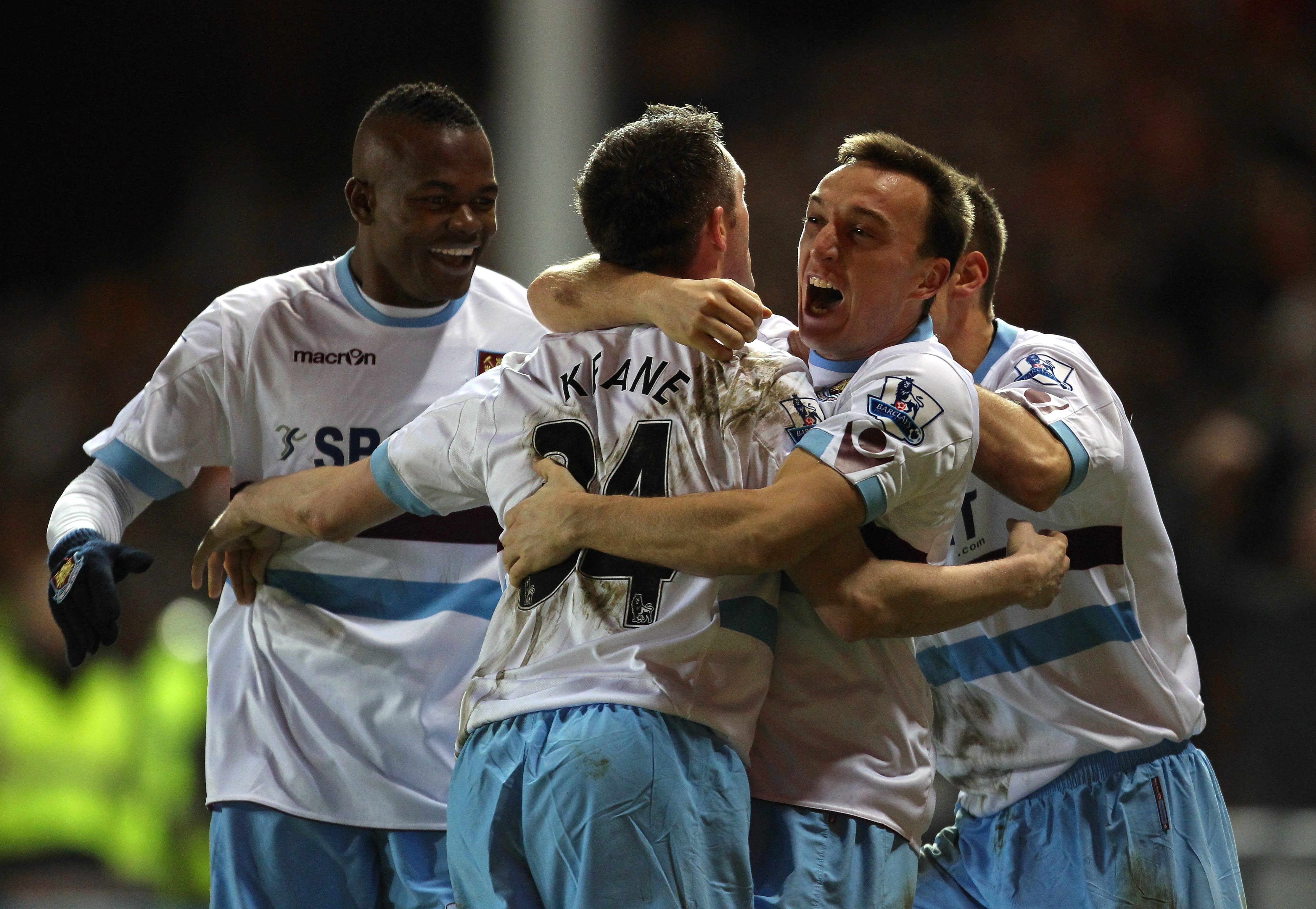 BLACKPOOL, ENGLAND - FEBRUARY 02:  Robbie Keane of West Ham United celebrates with Mark Noble after scoring his goal during the Barclays Premier League match between Blackpool and West Ham United at Bloomfield Road on February 2, 2011 in Blackpool, Englan