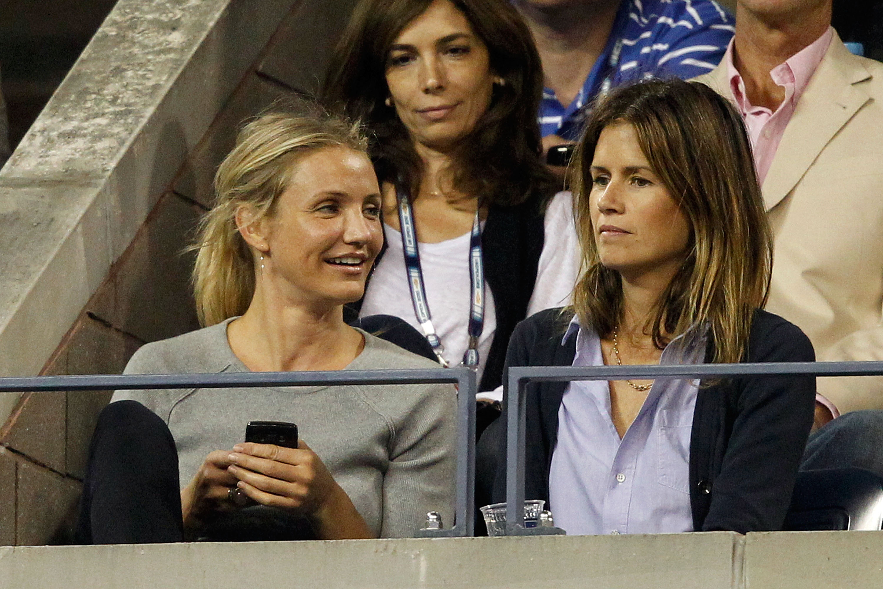 NEW YORK - SEPTEMBER 06:  Actor Cameron Diaz watches Roger Federer of Switzerland play against Jurgen Melzer of Austria during day eight of the 2010 U.S. Open at the USTA Billie Jean King National Tennis Center on September 6, 2010 in the Flushing neighbo