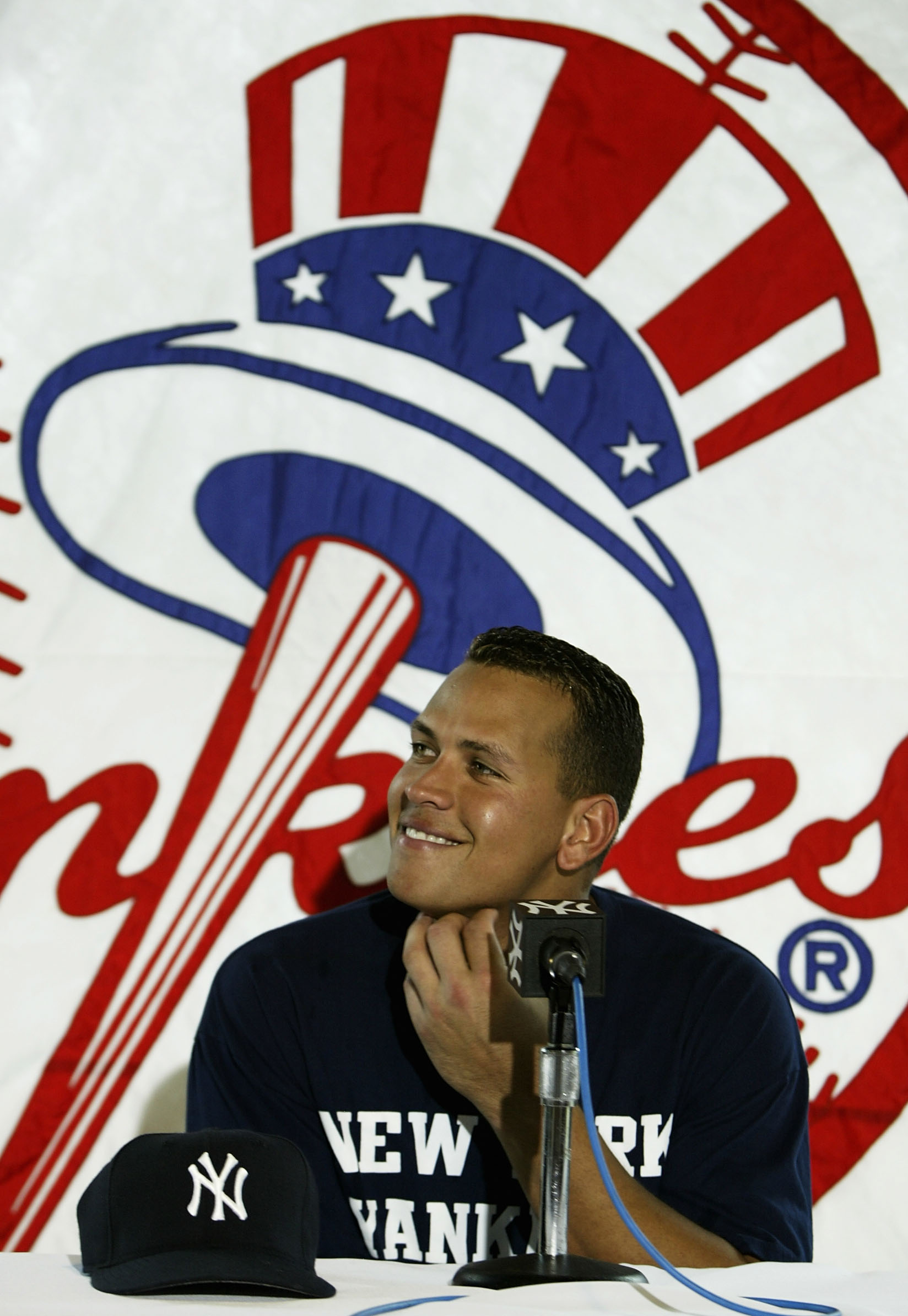 TAMPA, FL - FEBRUARY 24:  Alex Rodriguez #13 of the New York Yankees during a press conference after practice on February 24, 2004 at the Yankees spring training complex in Tampa, Florida.  (Photo by Ezra Shaw/Getty Images)