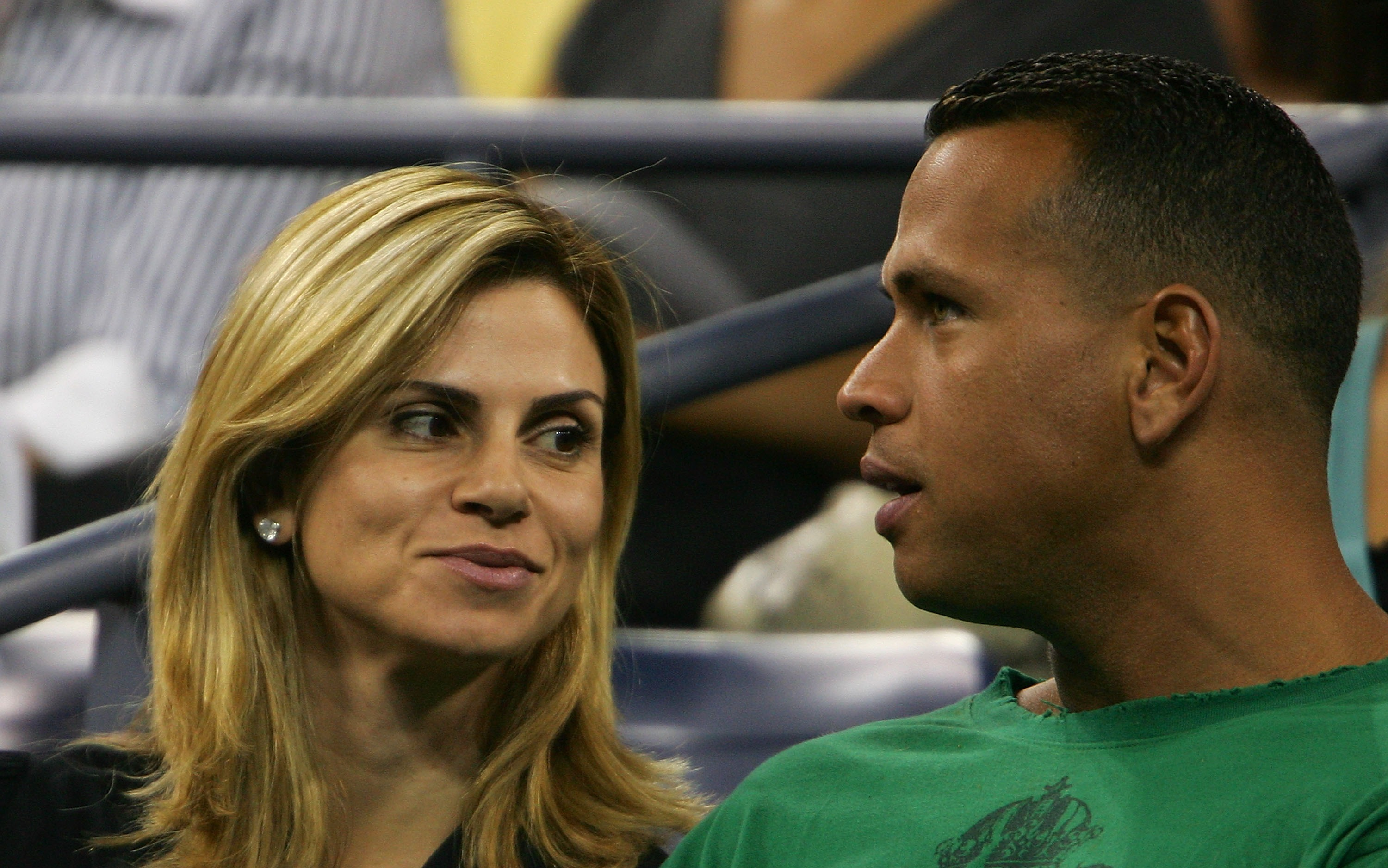 NEW YORK - SEPTEMBER 01:  Alex Rodriguez (R) of the New York Yankees and his wife Cynthia attend the match between Nicole Valdisova and Sharar Peer during day six of the 2007 U.S. Open at the Billie Jean King National Tennis Center on September 1, 2007 in
