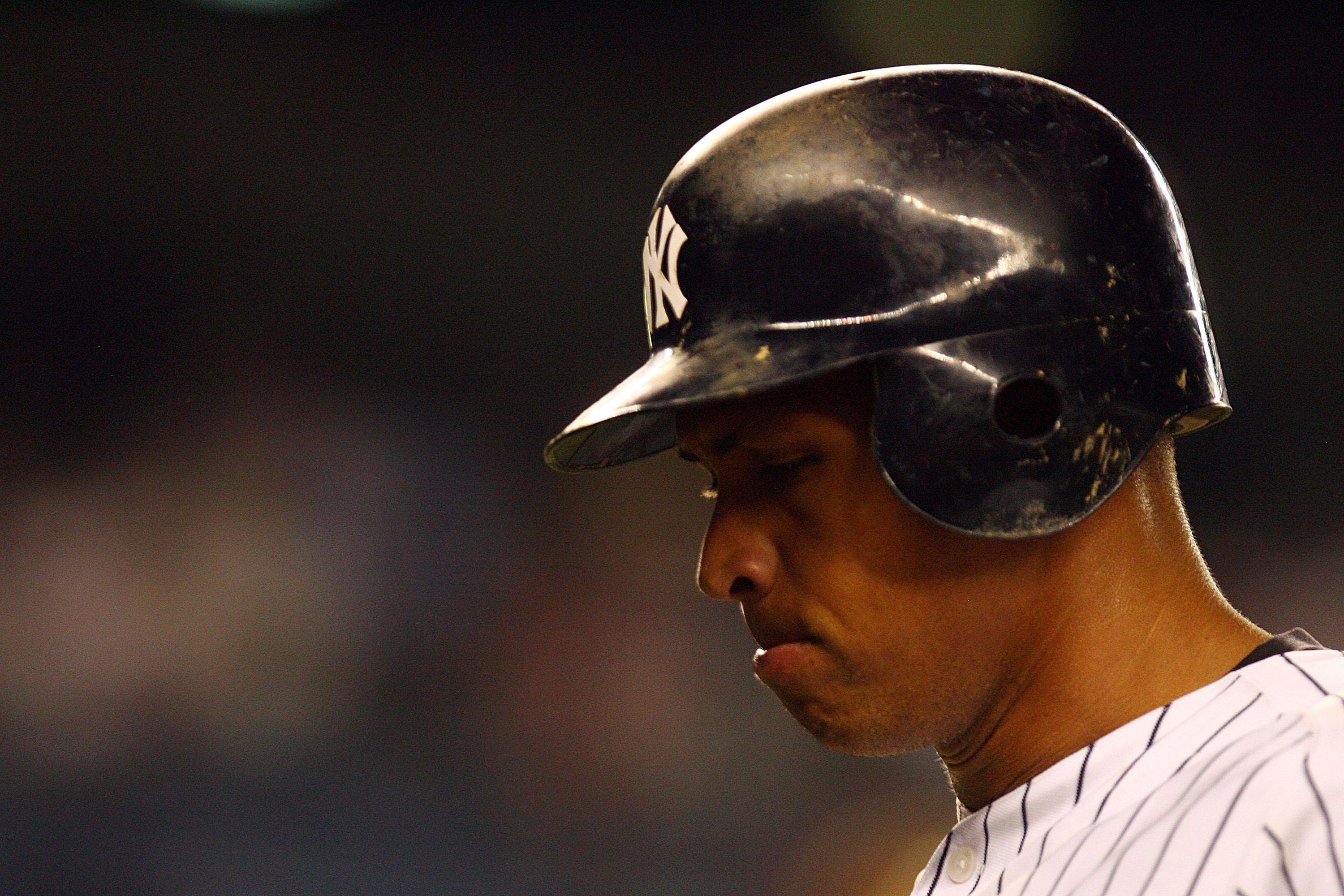 NEW YORK - OCTOBER 08:  Alex Rodriguez #13 of the New York Yankees reacts after flying out in the ninth inning against the Cleveland Indians during Game Four of the American League Division Series at Yankee Stadium on October 8, 2007 in the Bronx borough