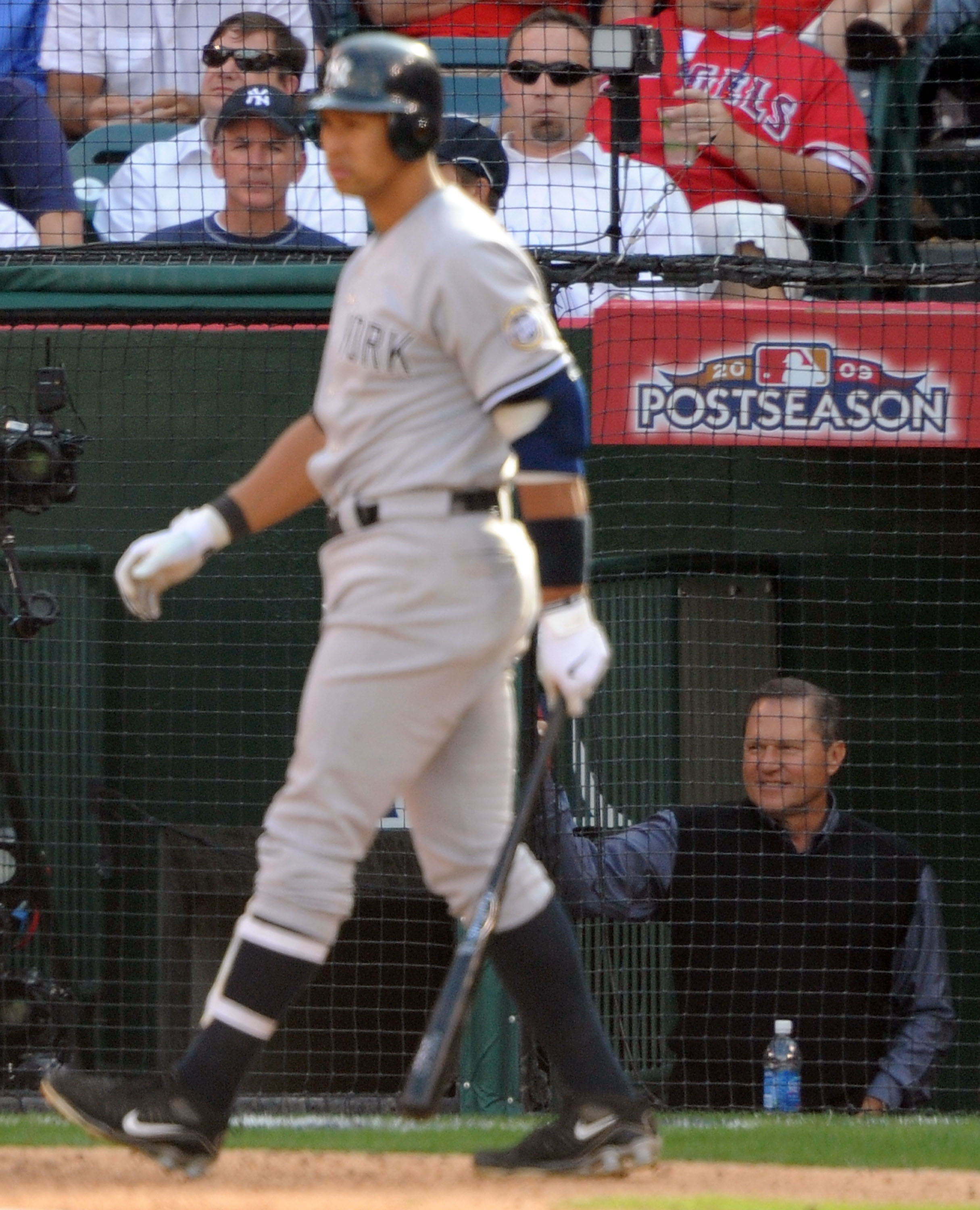 ANAHEIM, CA - OCTOBER 19:  Alex Rodriguez #13 of the New York Yankees waits on deck during the forth inning as his agent Scott Boras (R) looks on in Game Three of the ALCS against the Los Angeles Angels of Anaheim during the 2009 MLB Playoffs at Angel Sta