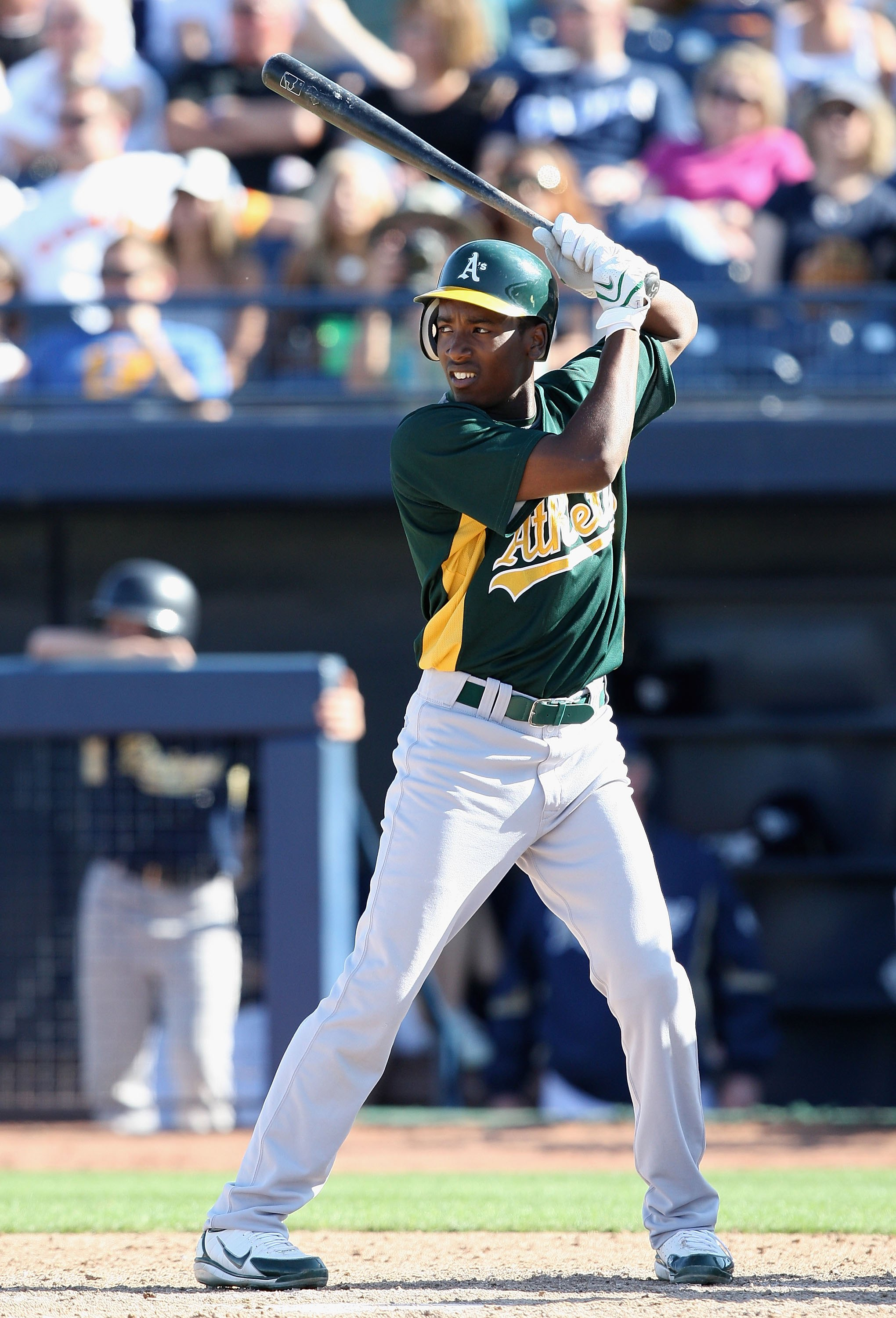 PEORIA, AZ - MARCH 07:  Jemile Weeks #53 of the Oakland Athletics bats agaisnt the San Diego Padres during the spring training game at Peoria Stadium on March 7, 2009 in Peoria, Arizona  The A's defeated the Padres 15-6.  (Photo by Christian Petersen/Gett