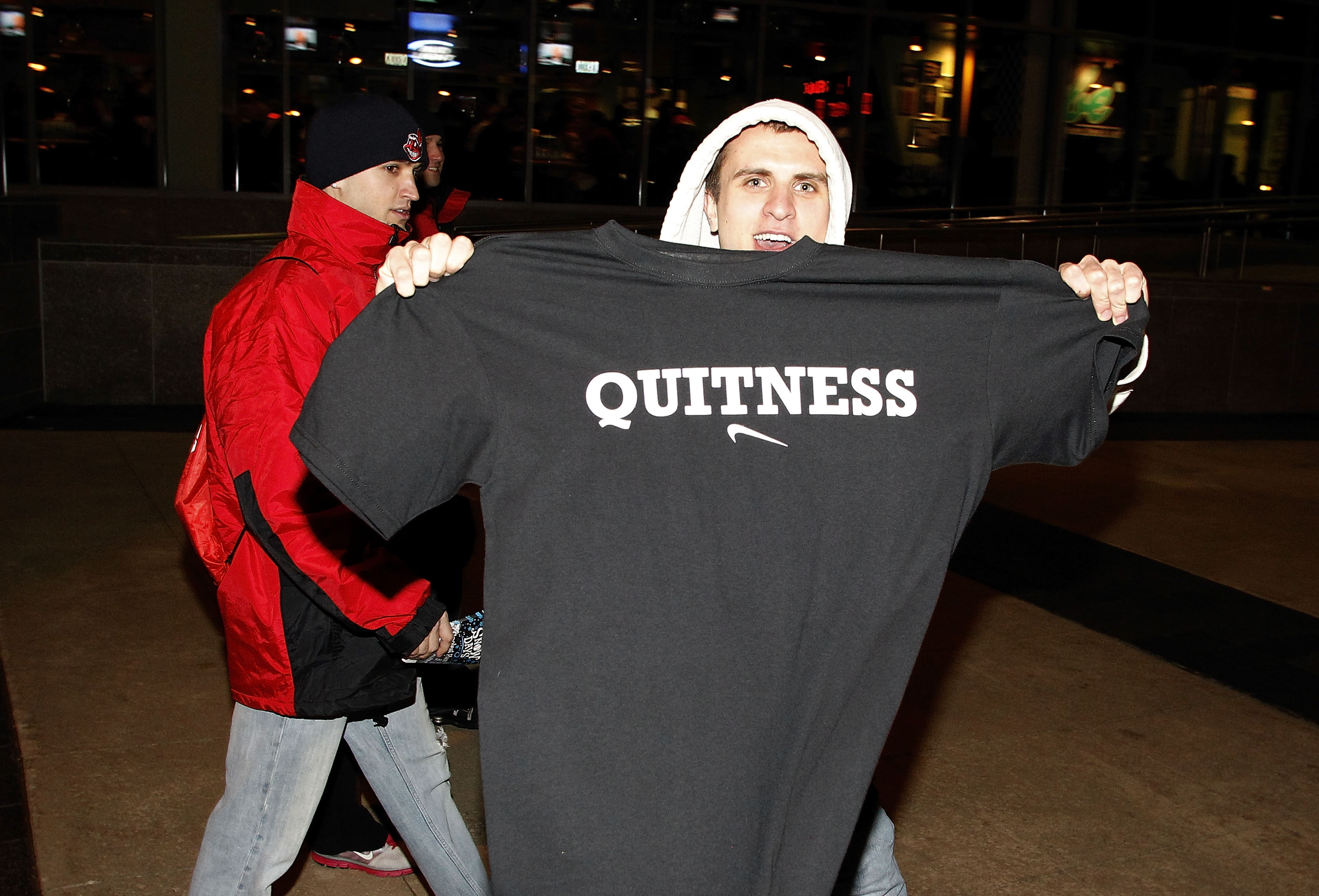 CLEVELAND, OH - DECEMBER 02:  Fans hold up t shirts to show their displeasure with LeBron James prior to the Cleveland Cavaliers playing the Miami Heat at Quicken Loans Arena on December 2, 2010 in Cleveland, Ohio. NOTE TO USER: User expressly acknowledge