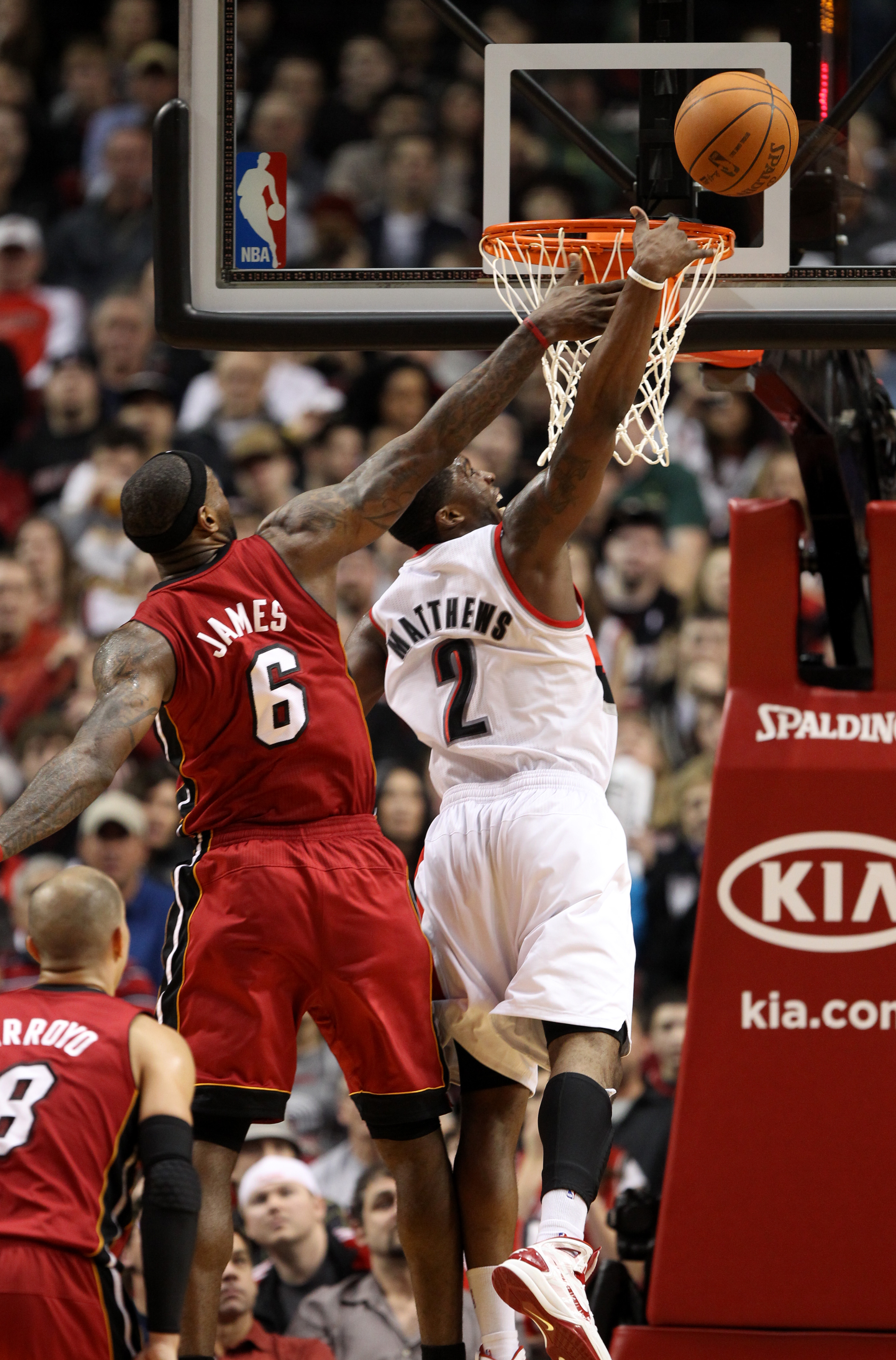 PORTLAND, OR - JANUARY 9: Wesley Matthews #2 of the Portland Trail Blazers has his shot blocked by LeBron James #6 of the Miami Heat during a game on January 9, 2011 at the Rose Garden Arena in Portland, Oregon. NOTE TO USER: User expressly acknowledges a