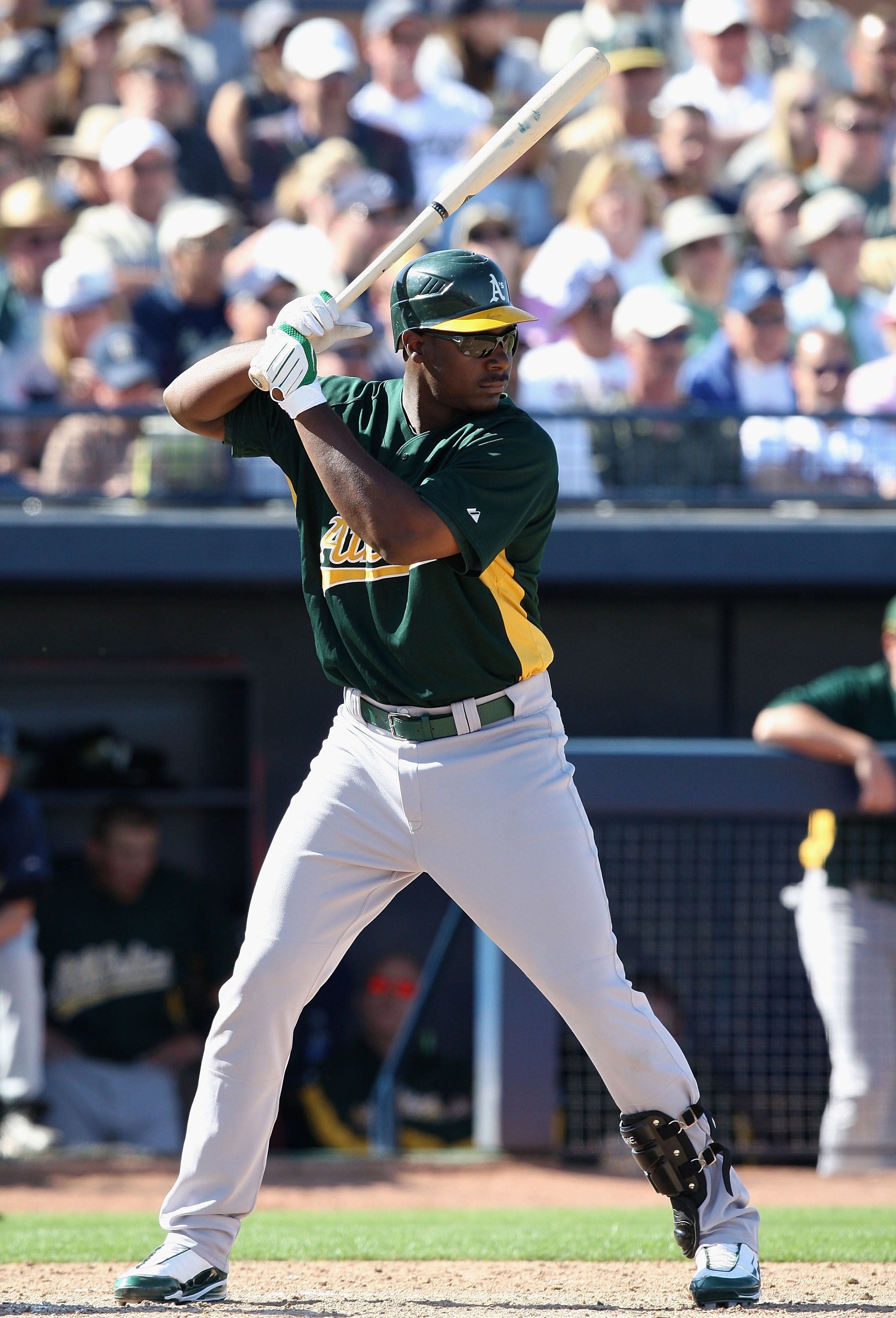 PEORIA, AZ - MARCH 07:  Chris Carter #75 of the Oakland Athletics bats against the San Diego Padres during the spring training game at Peoria Stadium on March 7, 2009 in Peoria, Arizona  The A's defeated the Padres 15-6.  (Photo by Christian Petersen/Gett