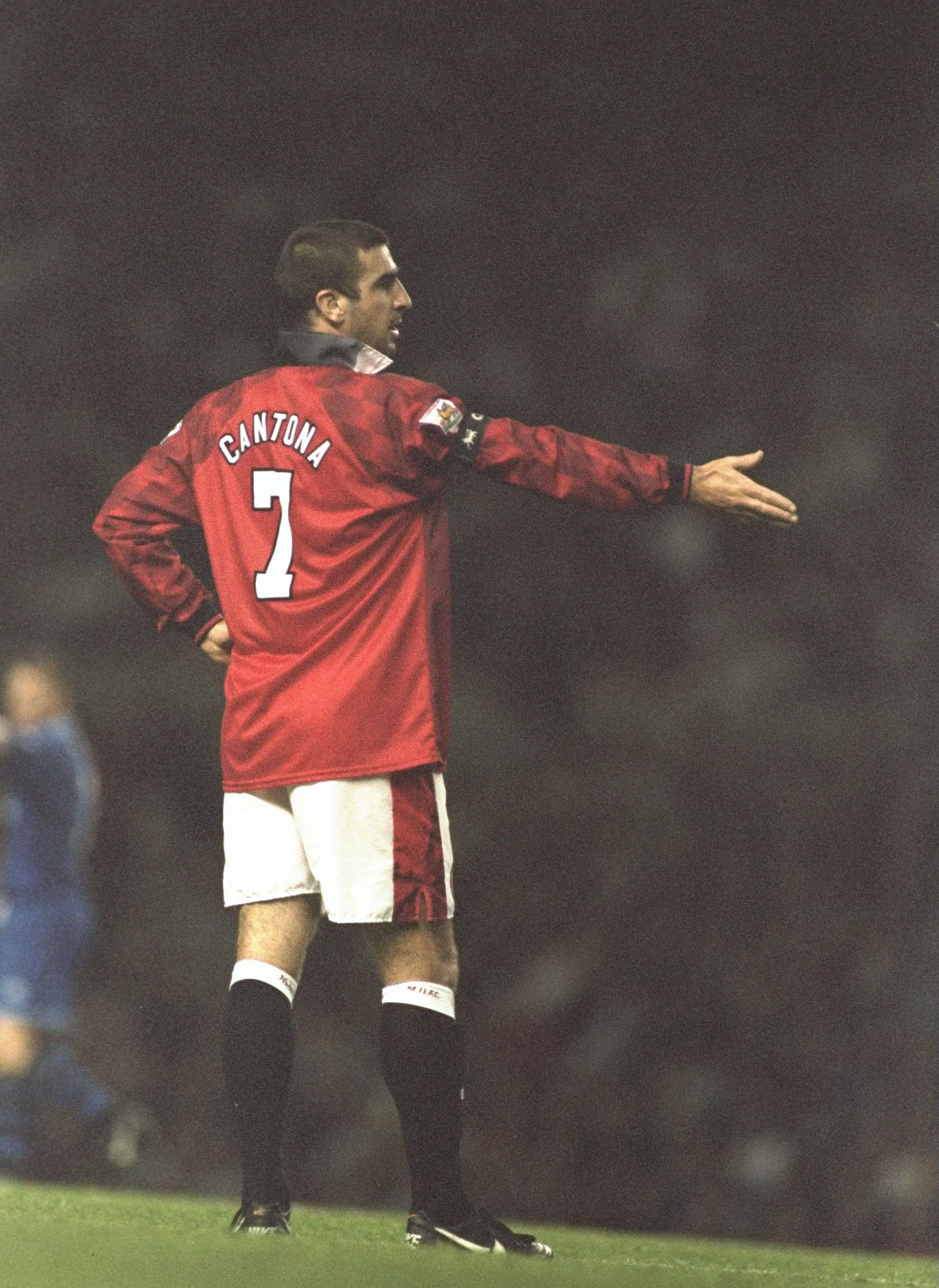 21 Aug 1996:  Eric Cantona of Manchester United starts felling frustration during the FA Carling Premier league match against Everton at Old Trafford in Manchester which ended in a 2-2 draw. Mandatory Credit: Anton Want/Allsport