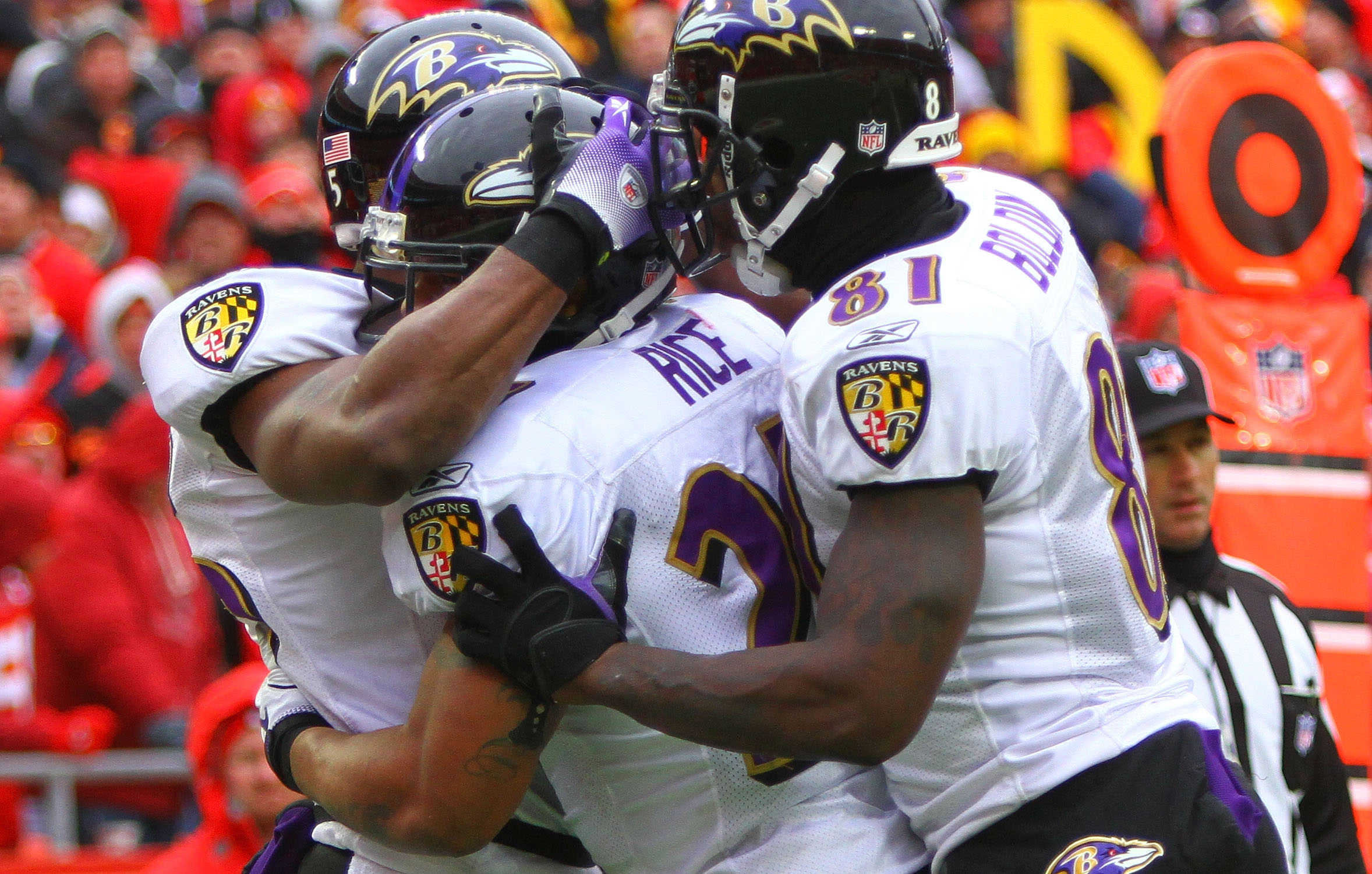 KANSAS CITY, MO - JANUARY 09:  Running back Ray Rice #27 of the Baltimore Ravens celebrates with teammates after scoring a touchdown against the Kansas City Chiefs in the second quarter of their 2011 AFC wild card playoff game at Arrowhead Stadium on Janu