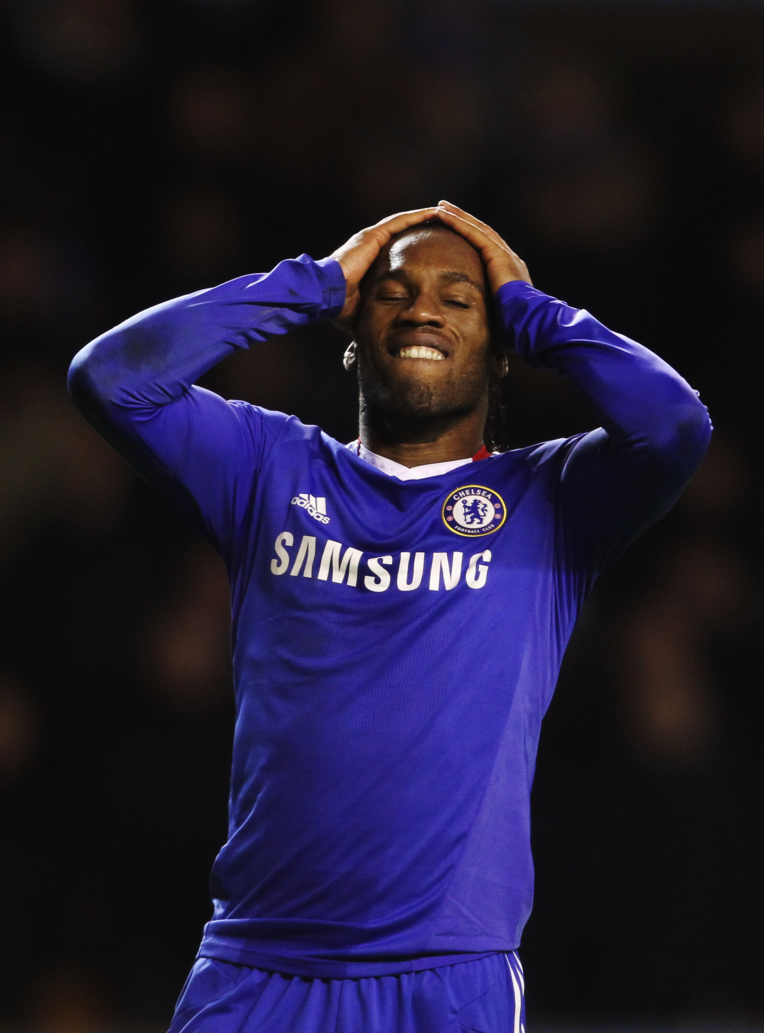 WOLVERHAMPTON, UNITED KINGDOM - JANUARY 05:  Didier Drogba of Chelsea reacts to a missed chance during the Barclays Premier League match between Wolverhampton Wanderers and Chelsea at Molineux on January 5, 2011 in Wolverhampton, England.  (Photo by Scott
