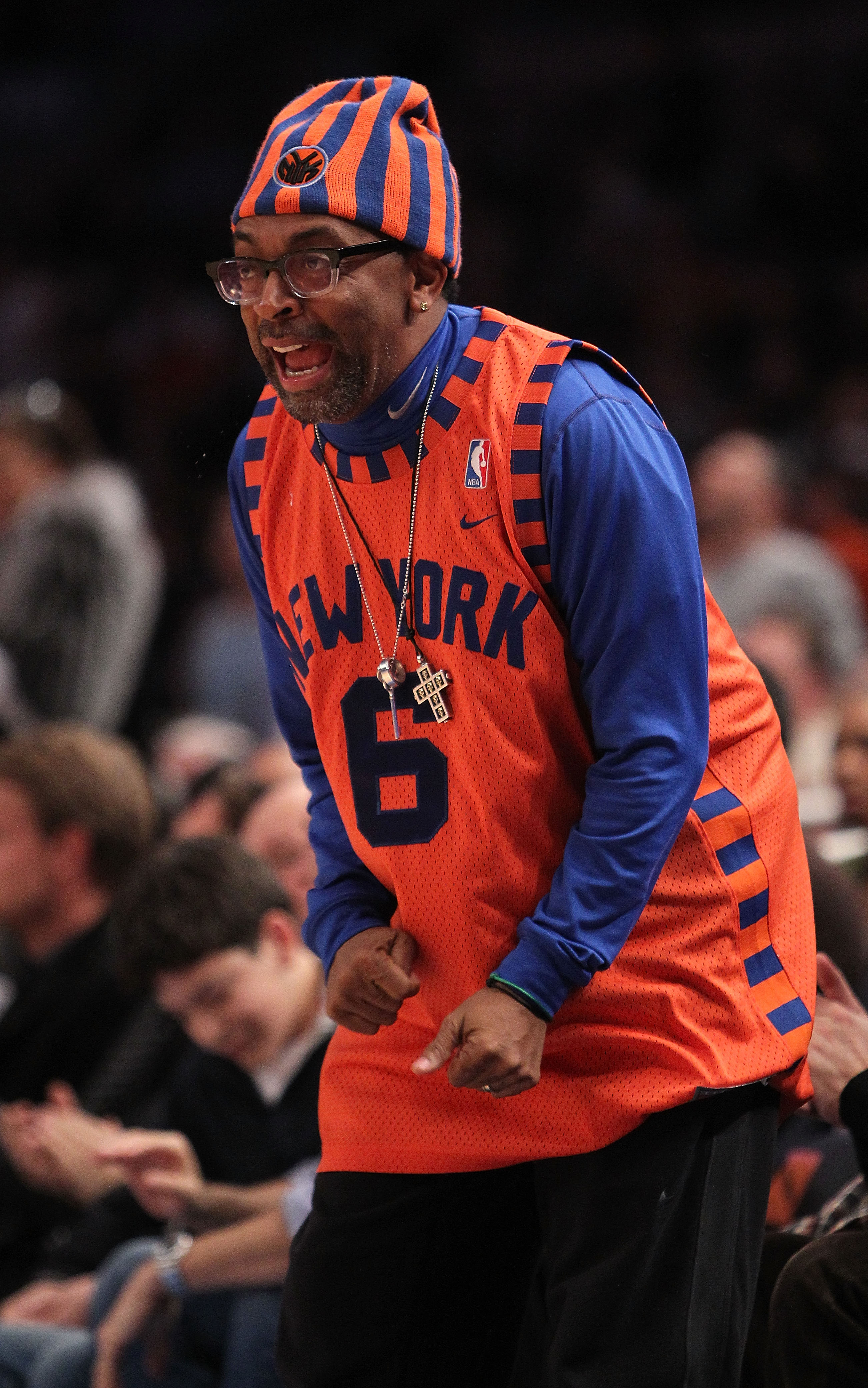NEW YORK, NY - FEBRUARY 02: Director Spike Lee  courtside during the game between the New York Knicks and the Dallas Mavericks at Madison Square Garden on February 2, 2011 in New York City. NOTE TO USER: User expressly acknowledges and agrees that, by dow