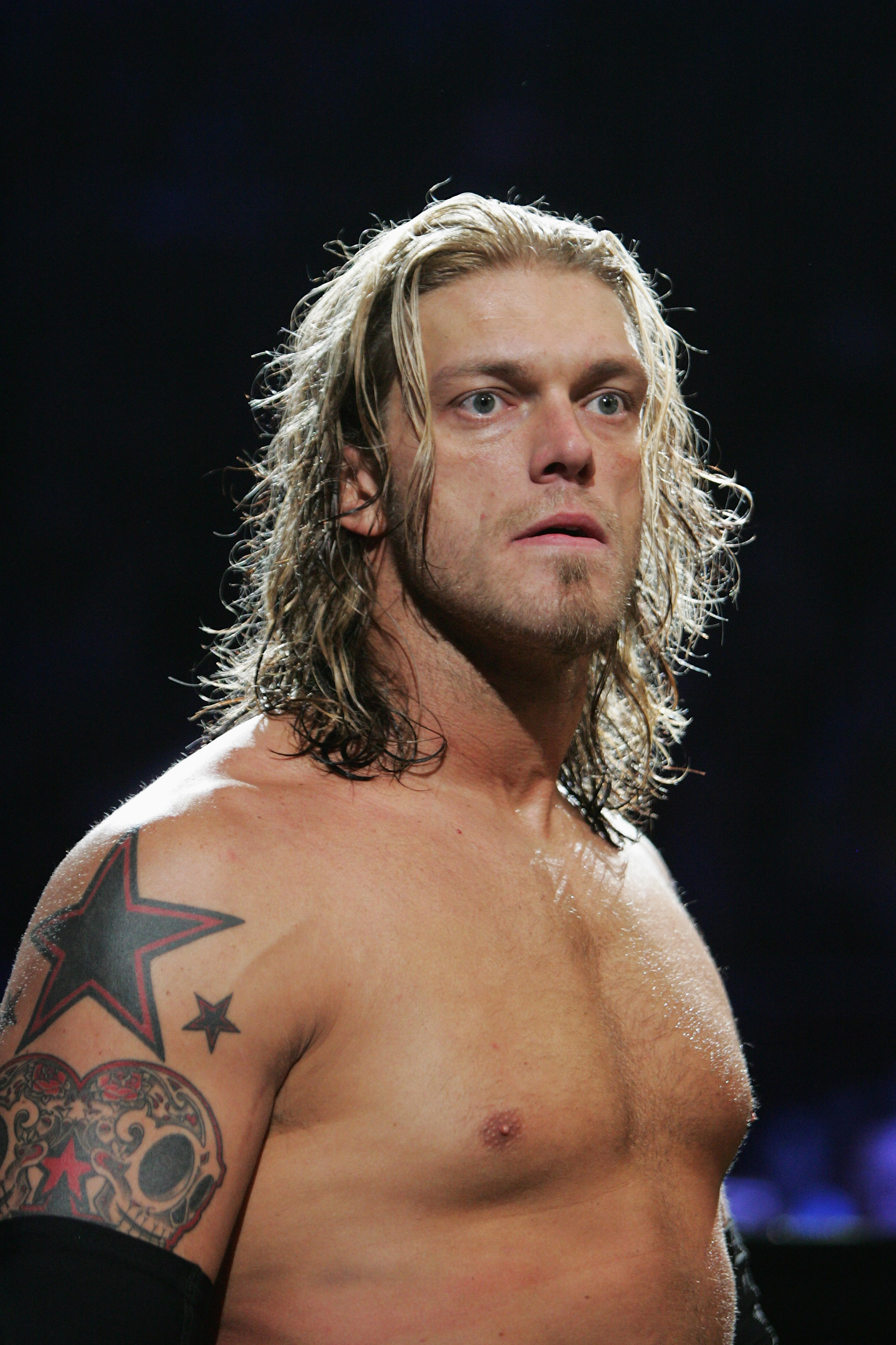 SYDNEY, AUSTRALIA - JUNE 15:  World Heavyweight Champion Edge looks on during WWE Smackdown at Acer Arena on June 15, 2008 in Sydney, Australia.  (Photo by Gaye Gerard/Getty Images)