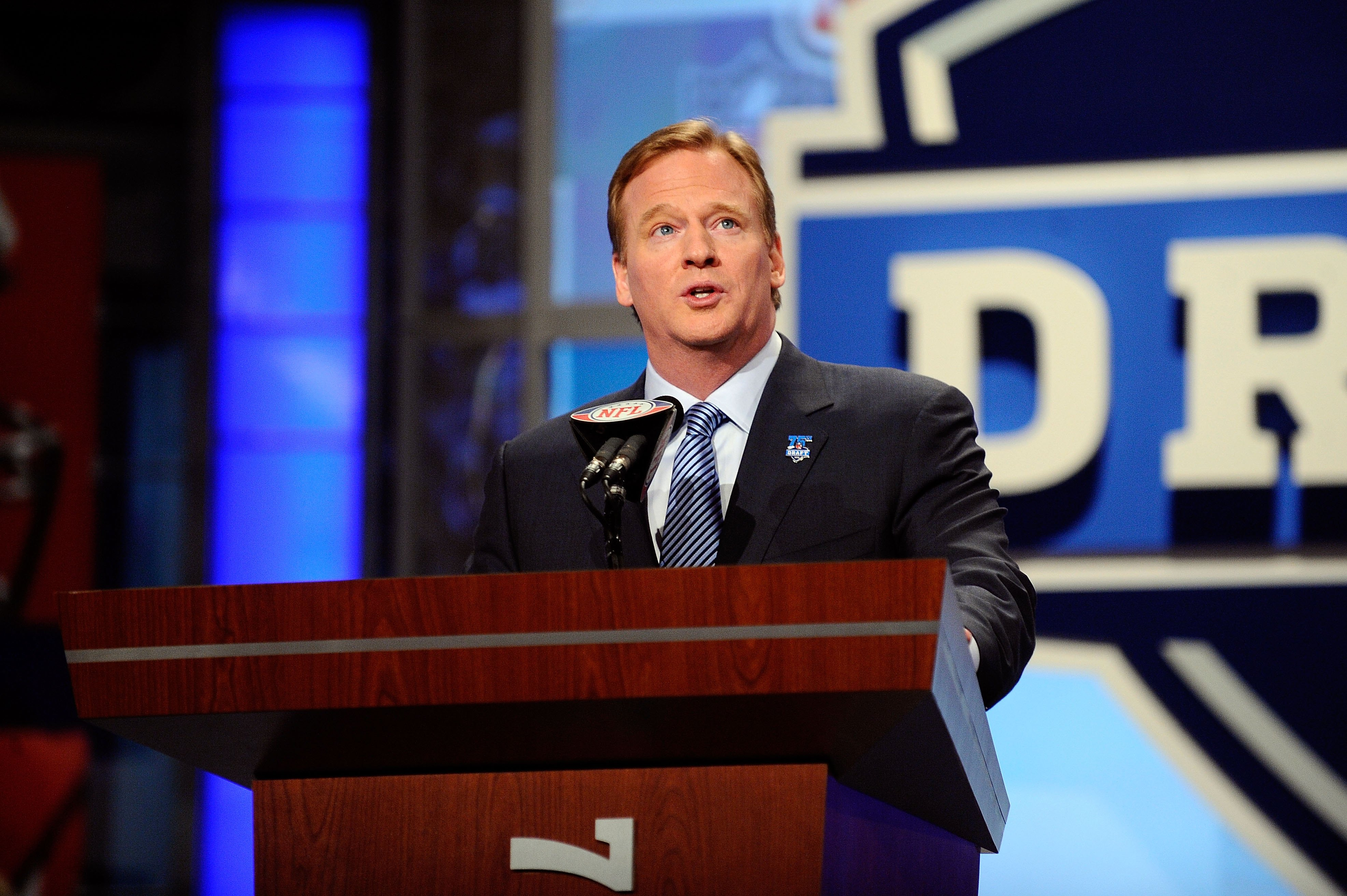 NEW YORK - APRIL 22:  NFL Commissioner Roer Goodell speaks at the podium during the first round of the 2010 NFL Draft at Radio City Music Hall on April 22, 2010 in New York City.  (Photo by Jeff Zelevansky/Getty Images)