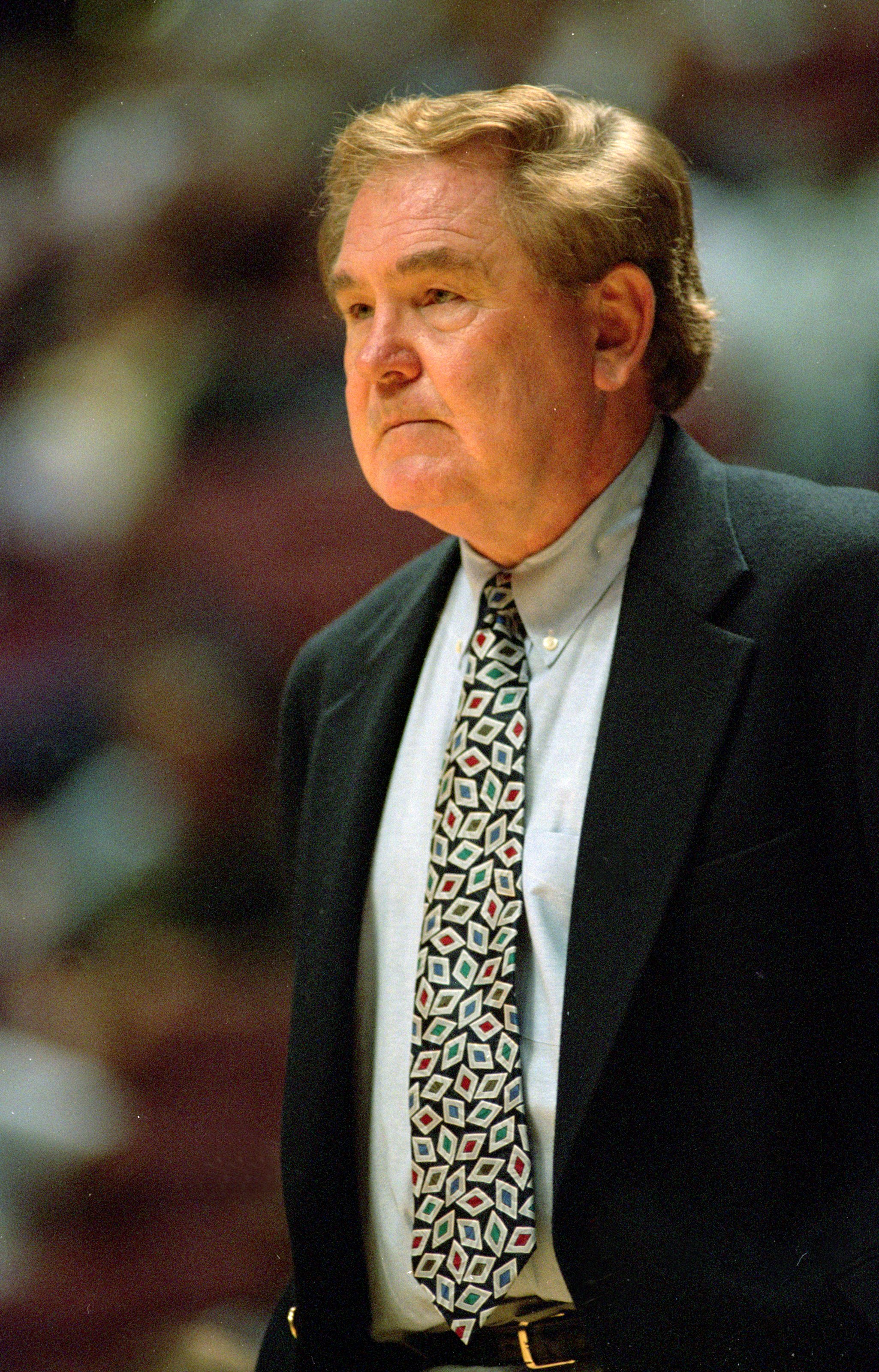 19 Oct 1999: Head coach Bill Fitch of the Los Angeles Clippers watches from the sidelines during an exhibition game against the Los Angeles Lakers at the Anaheim Pond in Anaheim, California. The Lakers defeated the Clippers 120-104.