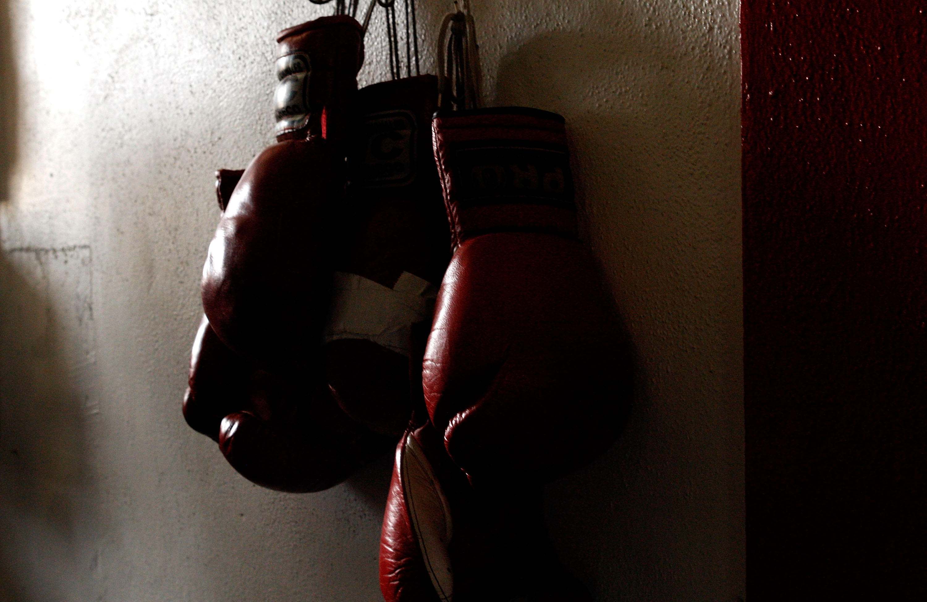 LOS ANGELES, CA - SEPTEMBER 29: Boxing gloves hang on the wall at the Urbina Westside Boxing Gym where Israel Vasquez Two-time Junior Featherweight World Champion had a workout session on September 29, 2009 in Los Angeles, California.  Vasquez will return