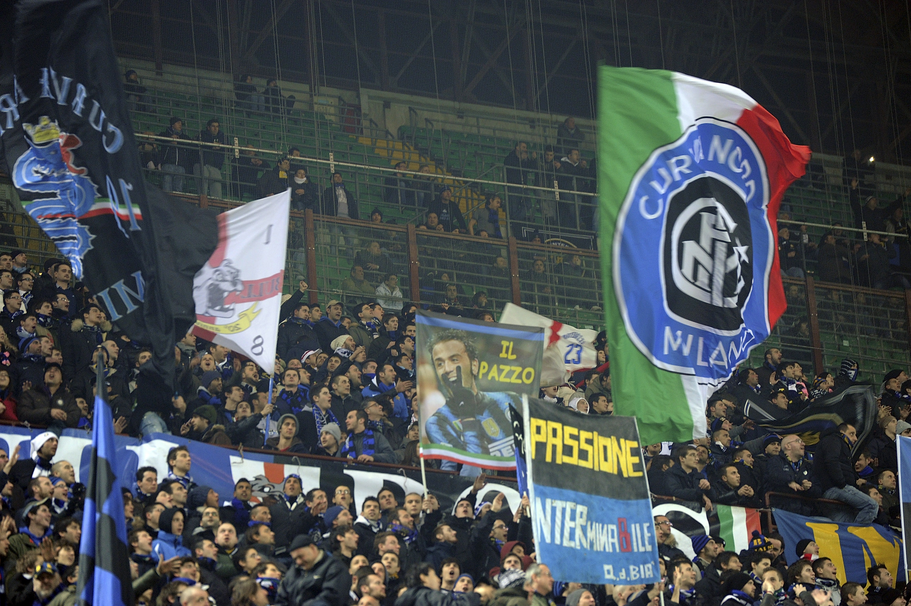 MILAN, ITALY - FEBRUARY 06:  Fans of Inter during the Serie A match between FC Internazionale Milano and AS Roma at Stadio Giuseppe Meazza on February 6, 2011 in Milan, Italy.  (Photo by Dino Panato/Getty Images)