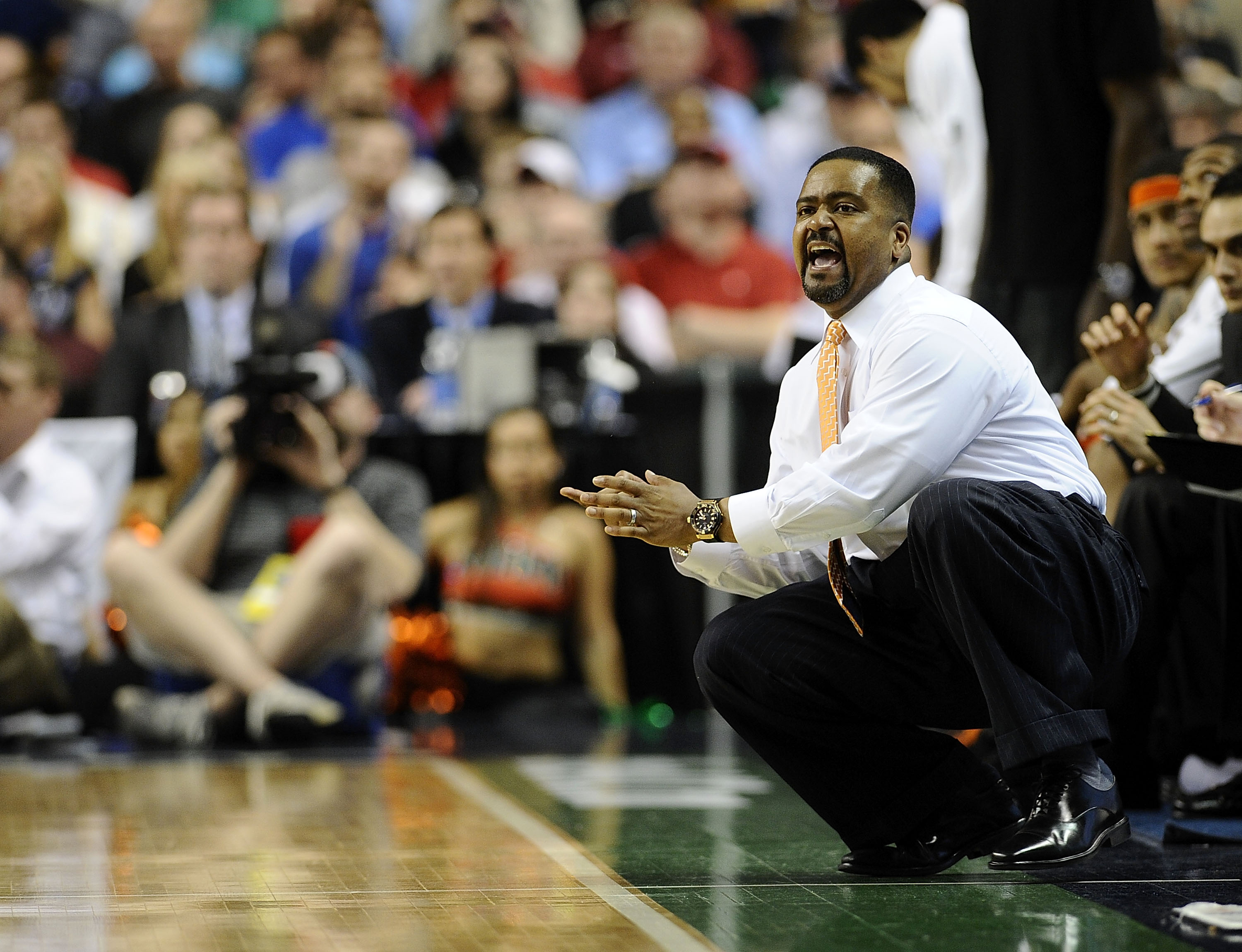 GREENSBORO, NC - MARCH 13:  Frank Haith, head coach of the University of Miami Hurricanes coaches in their semifinal game against the Duke Blue Devils in the 2010 ACC Men's Basketball Tournament at the Greensboro Coliseum on on March 13, 2010 in Greensbor