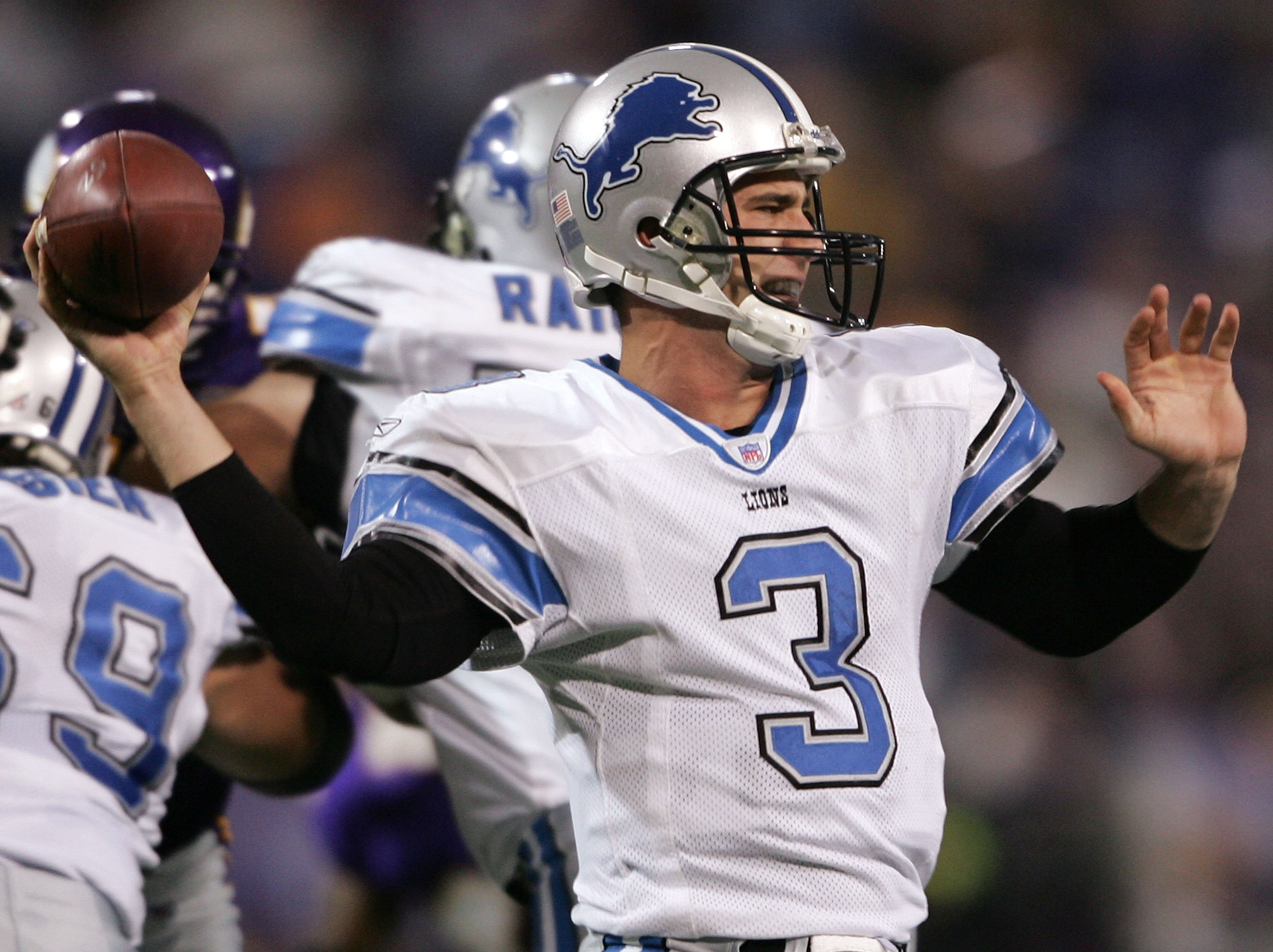 MINNEAPOLIS - NOVEMBER 6: Joey Harrington #3 of  the Detroit Lions tries to pass in the second half against the Minnesota Vikings on November 6, 2005 at the Hubert H. Humphrey Metrodome in Minneapolis, Minnesota.  The Minnesota Vikings defeated the Detroi