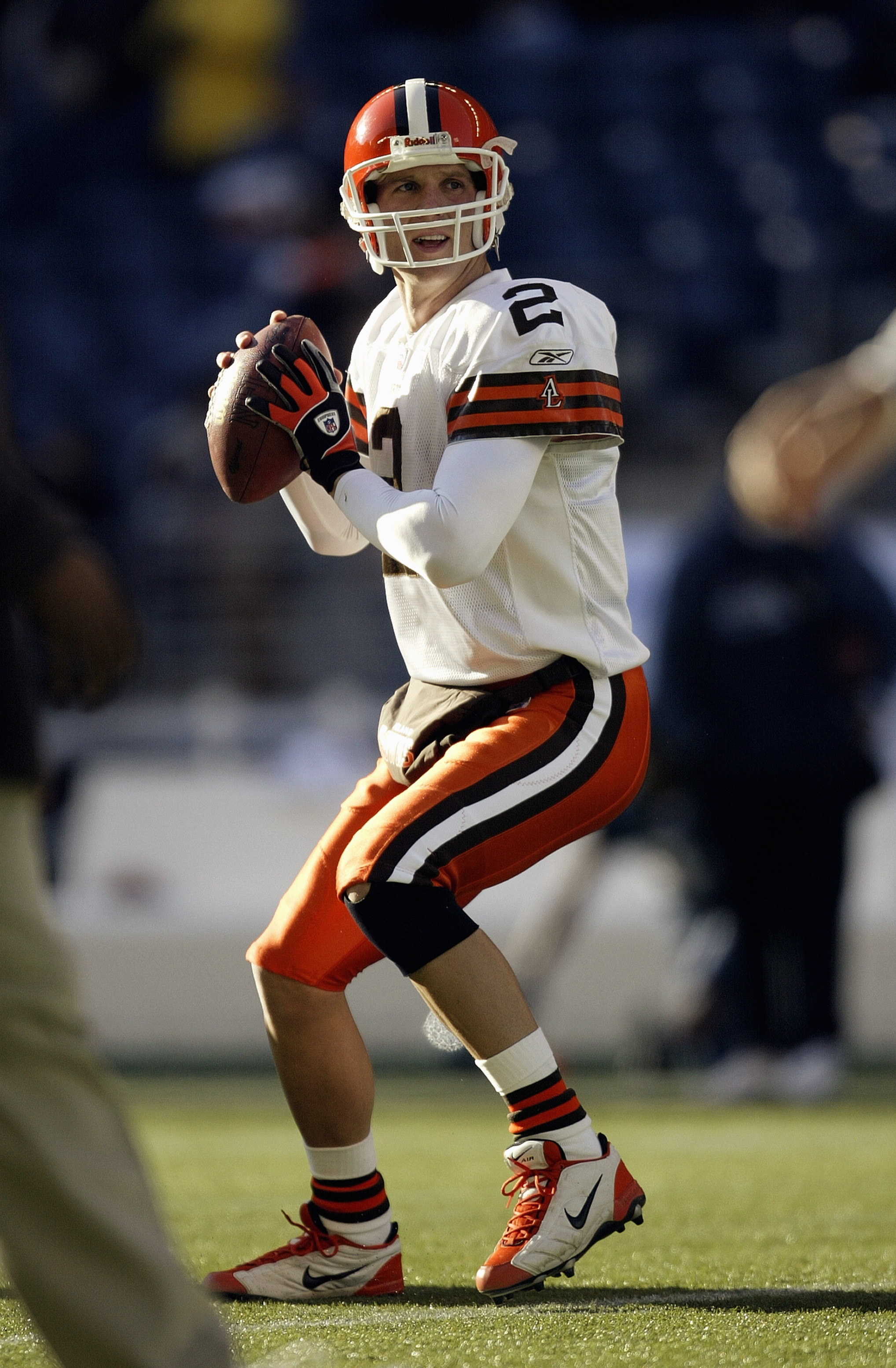 SEATTLE - NOVEMBER 30:  Quarterback Tim Couch #2 of the Cleveland Browns moves back to pass during the game against the Seattle Seahawks on November 30 2003 at Seahawks Stadium in Seattle, Washington. The Seahawks defeated the Browns 34-7. (Photo by Otto