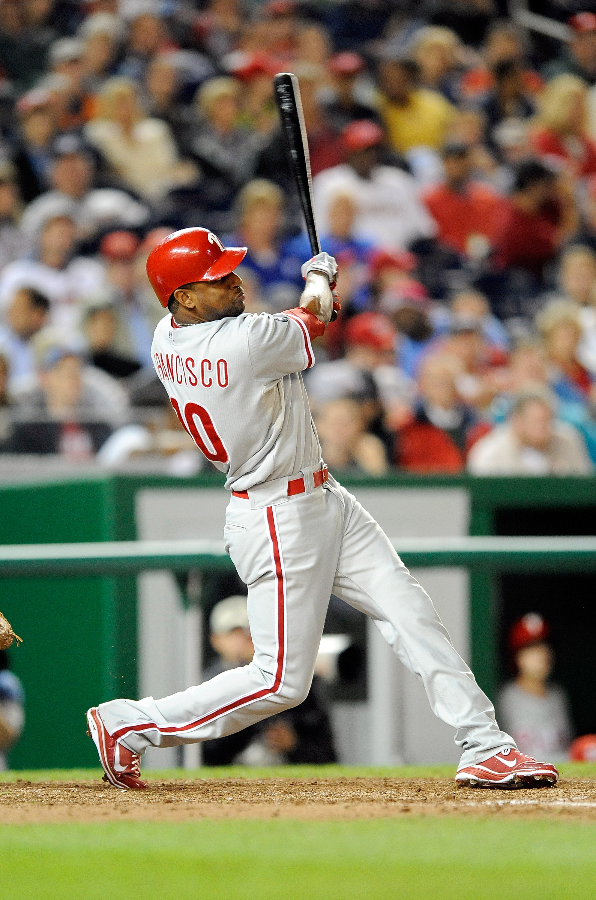 WASHINGTON - SEPTEMBER 29:  Ben Francisco #10 of the Philadelphia Phillies hits a home run in the fifth inning against the Washington Nationals at Nationals Park on September 29, 2010 in Washington, DC.  (Photo by Greg Fiume/Getty Images)