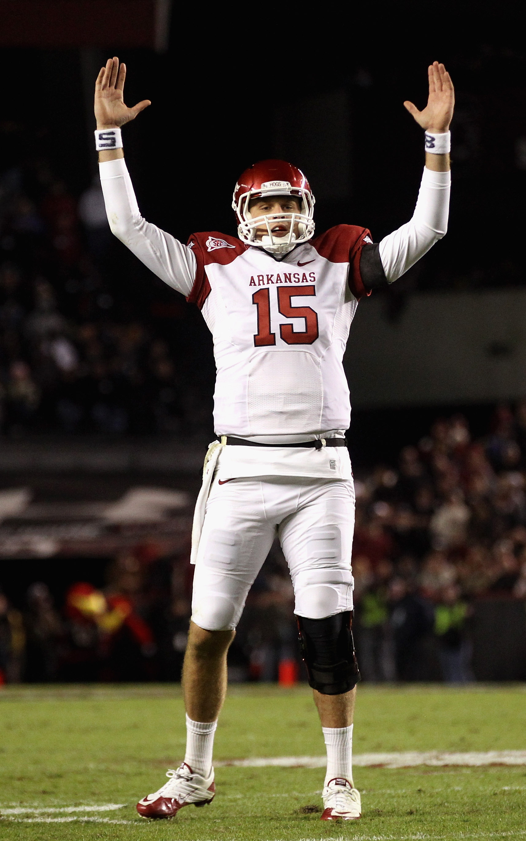 COLUMBIA, SC - NOVEMBER 06:  Ryan Mallett #15 of the Arkansas Razorbacks celebrates after a touchdown against the South Carolina Gamecocks during their game at Williams-Brice Stadium on November 6, 2010 in Columbia, South Carolina.  (Photo by Streeter Lec