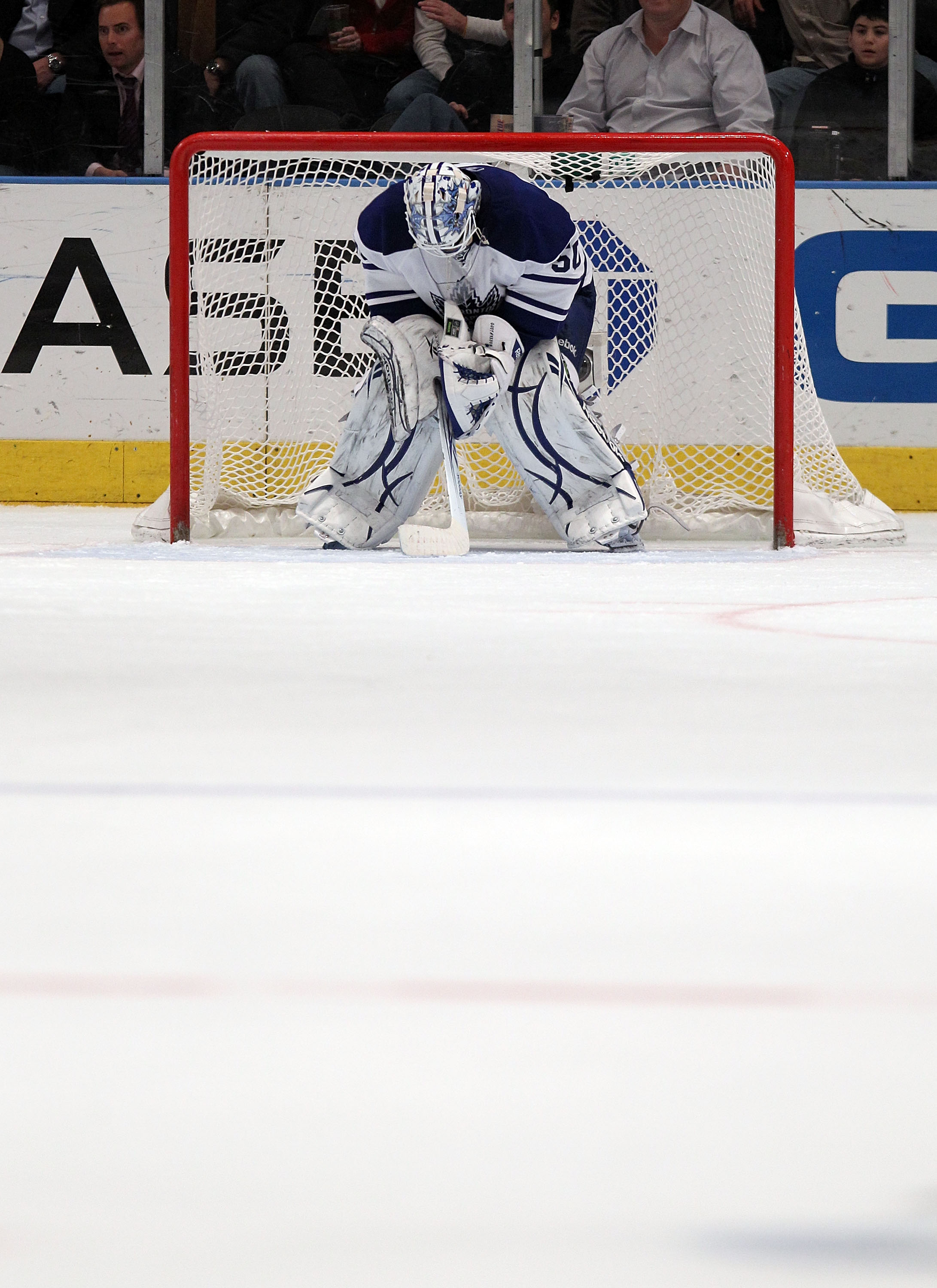 NEW YORK, NY - JANUARY 19: Jonas Gustavsson #50 of the Toronto Maple Leafs takes a break during his 7-0 loss to the New York Rangers at Madison Square Garden on January 19, 2011 in New York City. (Photo by Bruce Bennett/Getty Images)