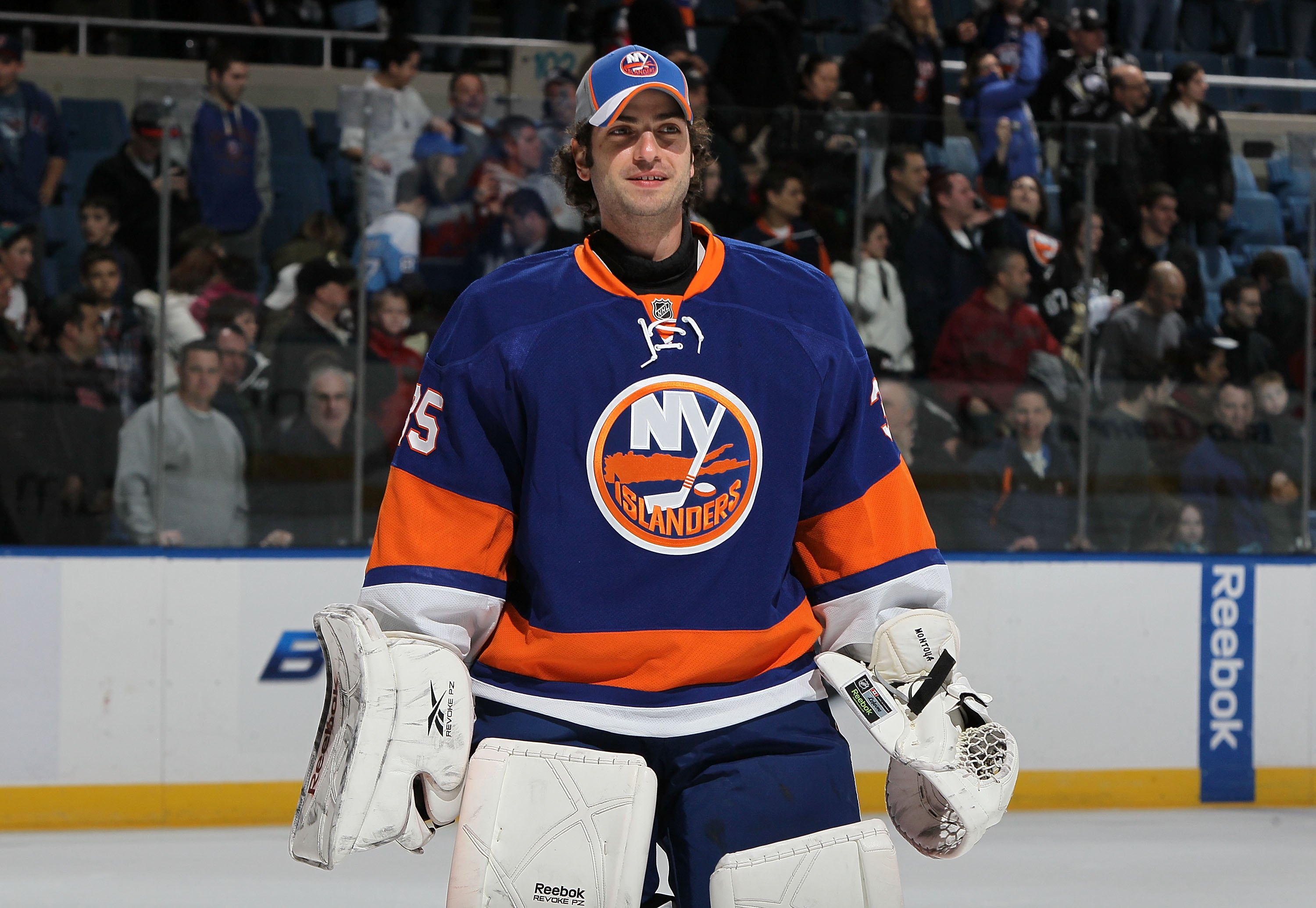UNIONDALE, NY - FEBRUARY 11:  Al Montoya #35 of the New York Islanders looks on after defeating the Pittsburgh Penguins on February 11, 2011 at Nassau Coliseum in Uniondale, New York. The Isles defeated the Pens 9-3.  (Photo by Jim McIsaac/Getty Images)
