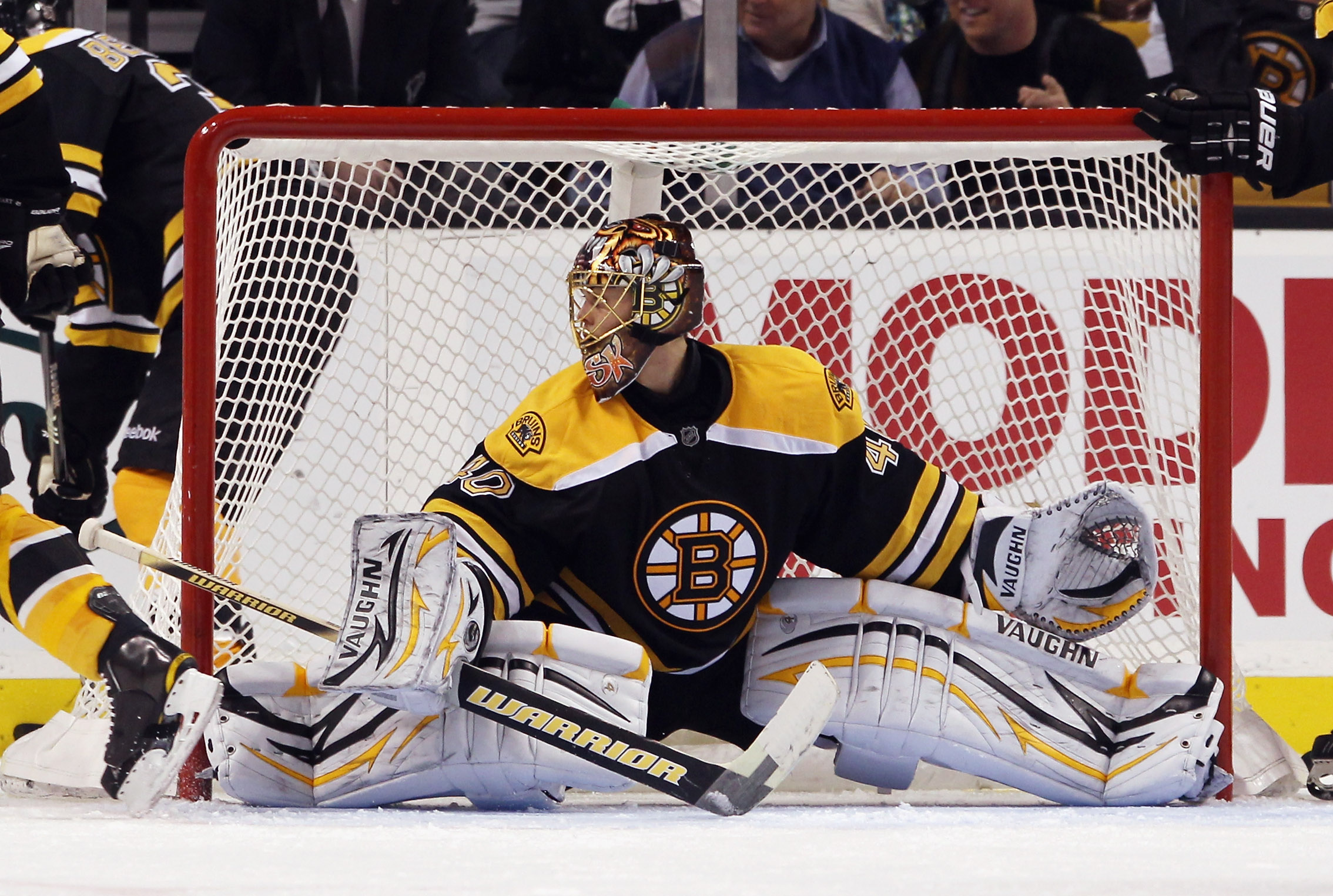 BOSTON - OCTOBER 23: Tuukka Rask #40 of the Boston Bruins spreads out to cover the net in his game against the New York Rangers at the TD Garden on October 23, 2010 in Boston, Massachusetts. The Rangers defeated the Bruins 3-2. (Photo by Bruce Bennett/Get