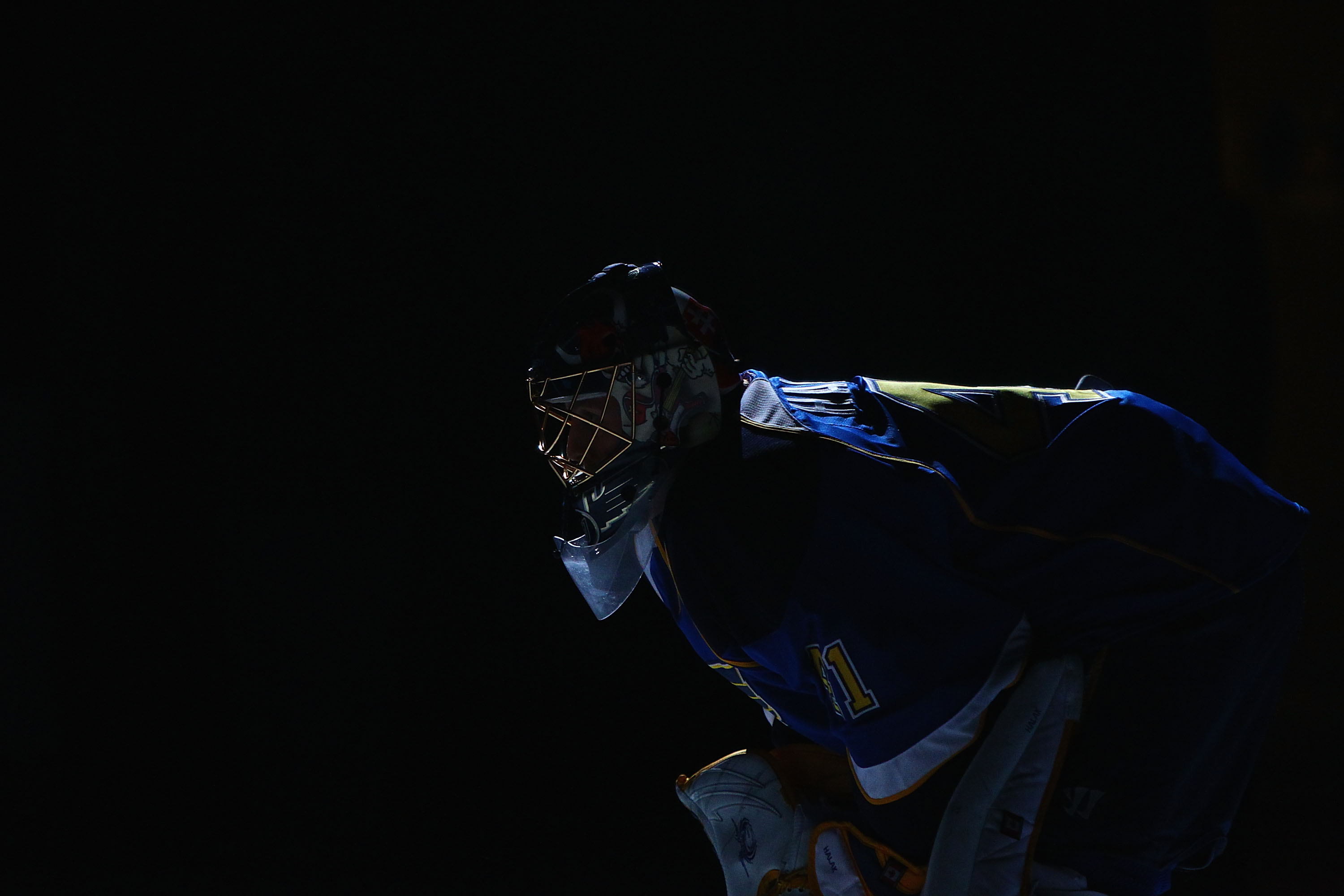 ST. LOUIS, MO - JANUARY 10: Jaroslav Halak #41 of the St. Louis Blues is introduced prior to playing against the Phoenix Coyotes at the Scottrade Center on January 10, 2011 in St. Louis, Missouri.  (Photo by Dilip Vishwanat/Getty Images)