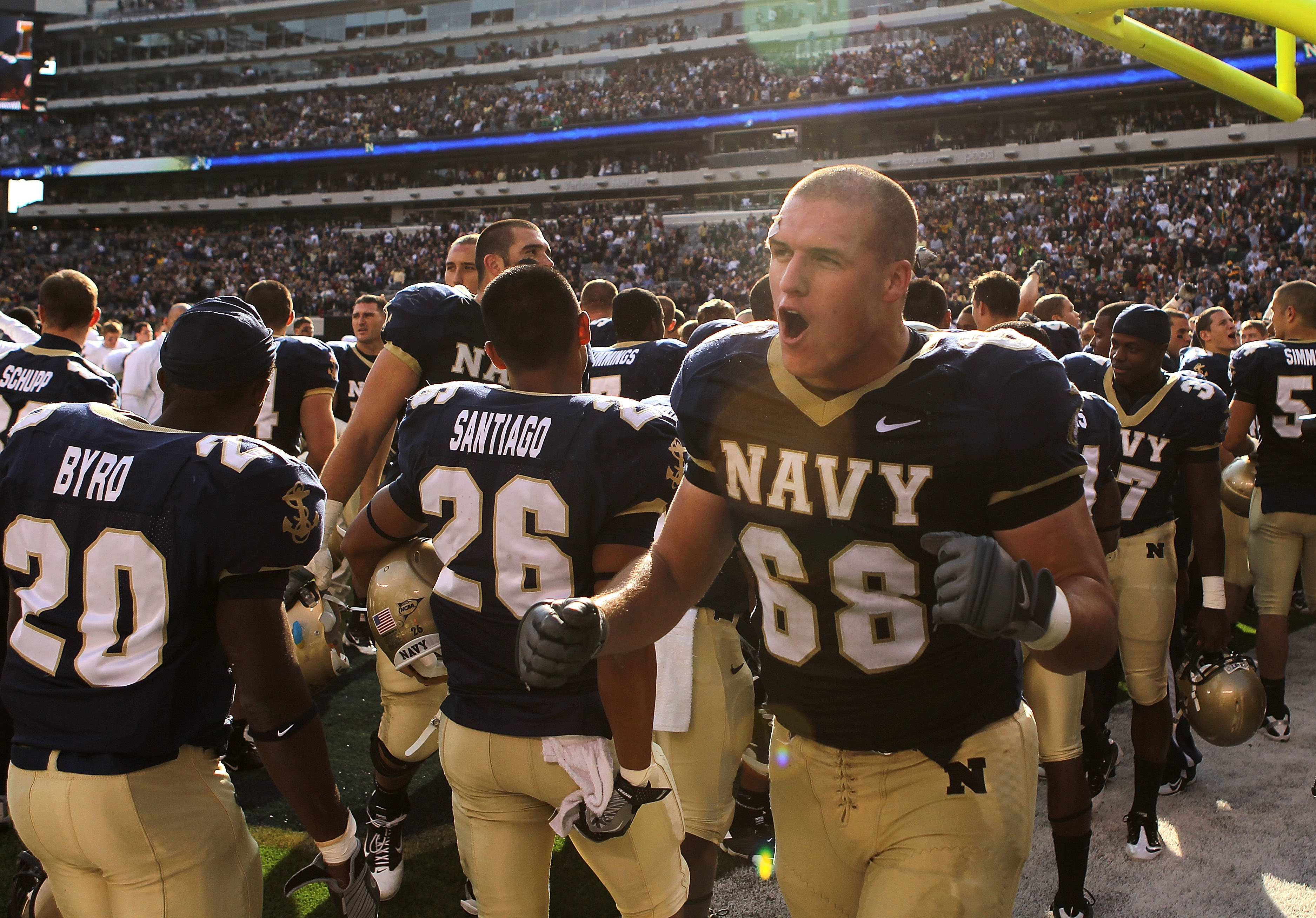 EAST RUTHERFORD, NJ - OCTOBER 23: John Dowd #68 of the Navy Midshipmen celebrates the win after the game against the Notre Dame Fighting Irish at New Meadowlands Stadium on October 23, 2010 in East Rutherford, New Jersey.  (Photo by Nick Laham/Getty Image