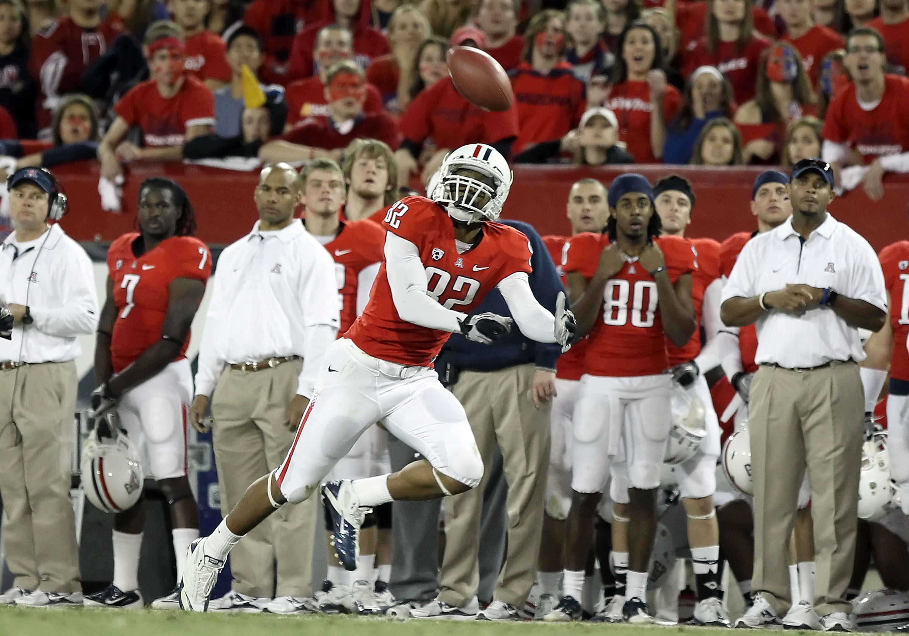 TUCSON, AZ - DECEMBER 02:  Wide receiver Juron Criner #82 of the Arizona Wildcats is unable to catch a deep pass during the college football game against the Arizona State Sun Devils at Arizona Stadium on December 2, 2010 in Tucson, Arizona.  (Photo by Ch