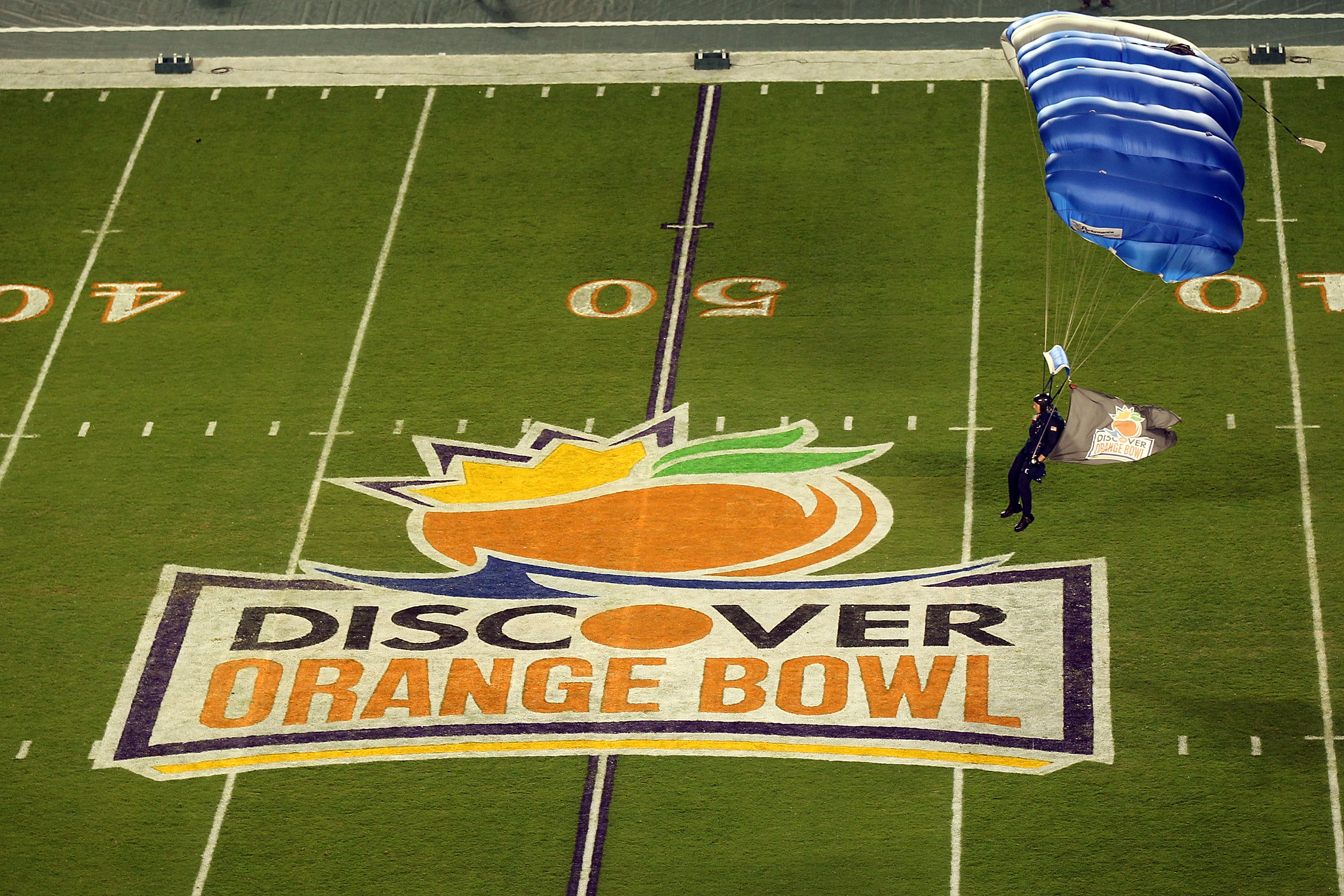 MIAMI, FL - JANUARY 03:  An aerialist parachutes onto the field prior to the Stanford Cardinal playing against the Virginia Tech Hokies during the 2011 Discover Orange Bowl at Sun Life Stadium on January 3, 2011 in Miami, Florida.  (Photo by Mike Ehrmann/