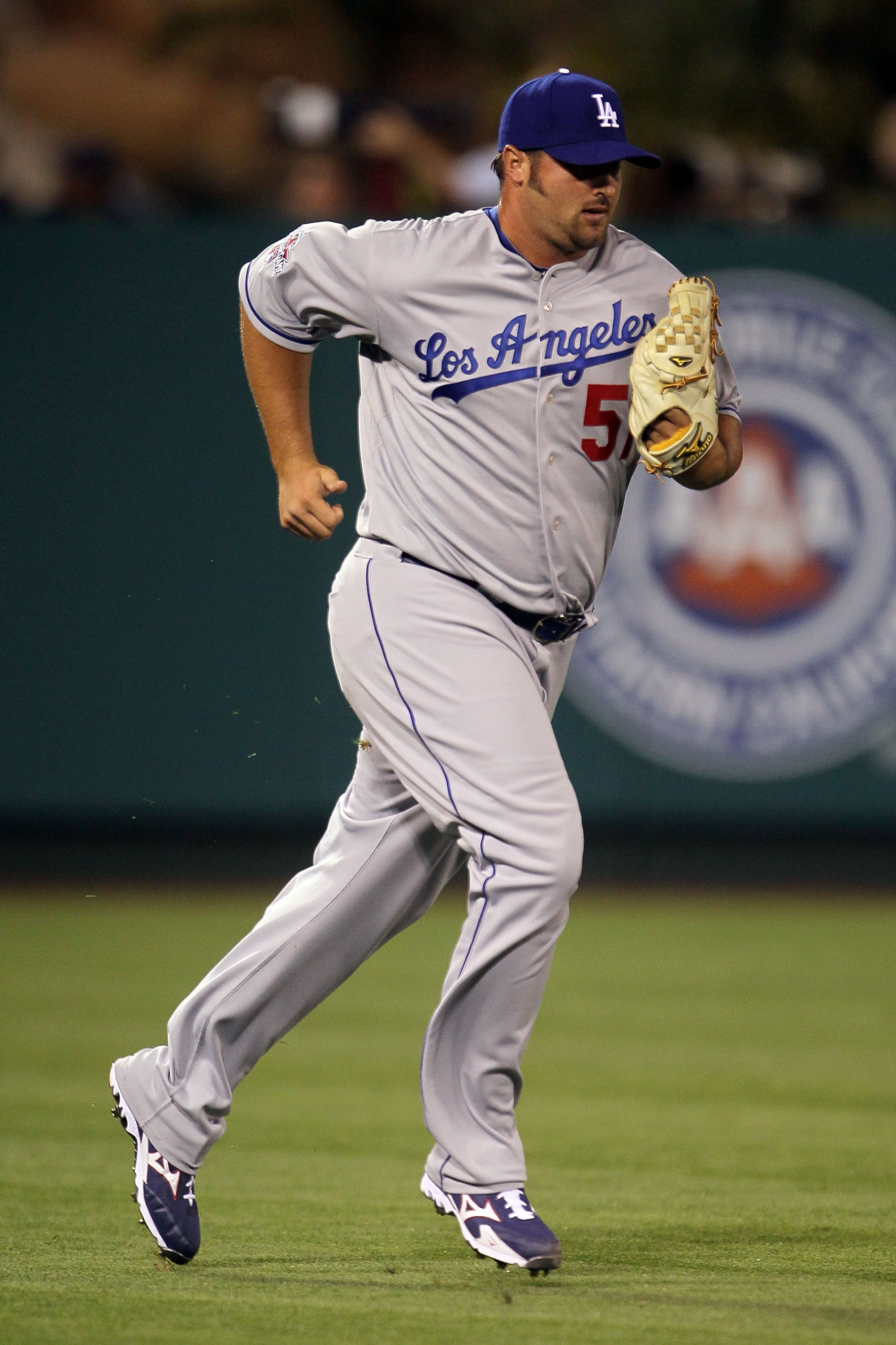 ANAHEIM, CA - JULY 13:  National League All-Star Jonathan Broxton #51 of the Los Angeles Dodgers runs in during the 81st MLB All-Star Game at Angel Stadium of Anaheim on July 13, 2010 in Anaheim, California.  (Photo by Jeff Gross/Getty Images)