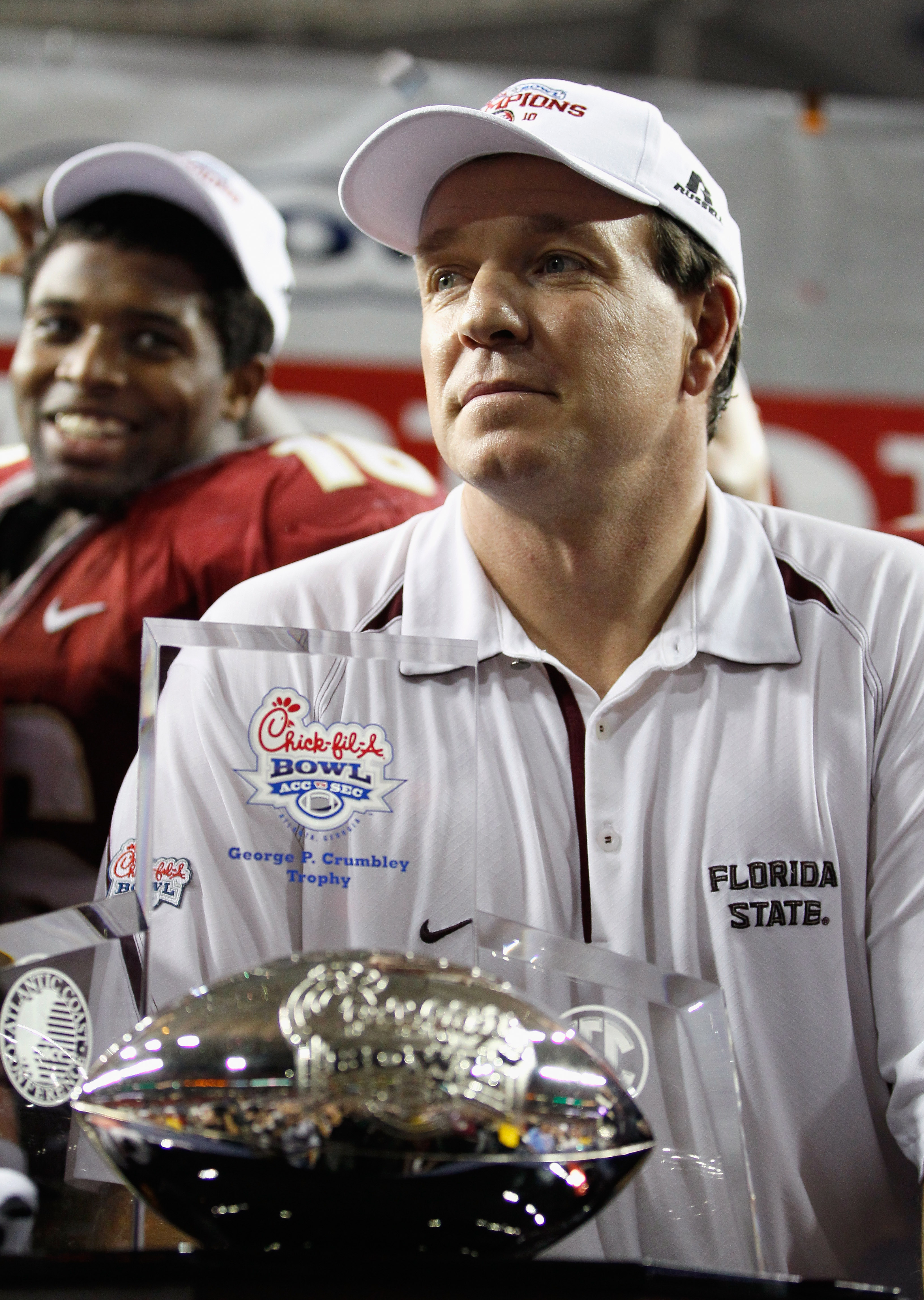 ATLANTA, GA - DECEMBER 31:  Head coach Jimbo Fisher of the Florida State Seminoles reacts after their 26-17 win over the South Carolina Gamecocks during the 2010 Chick-fil-A Bowl at Georgia Dome on December 31, 2010 in Atlanta, Georgia.  (Photo by Kevin C