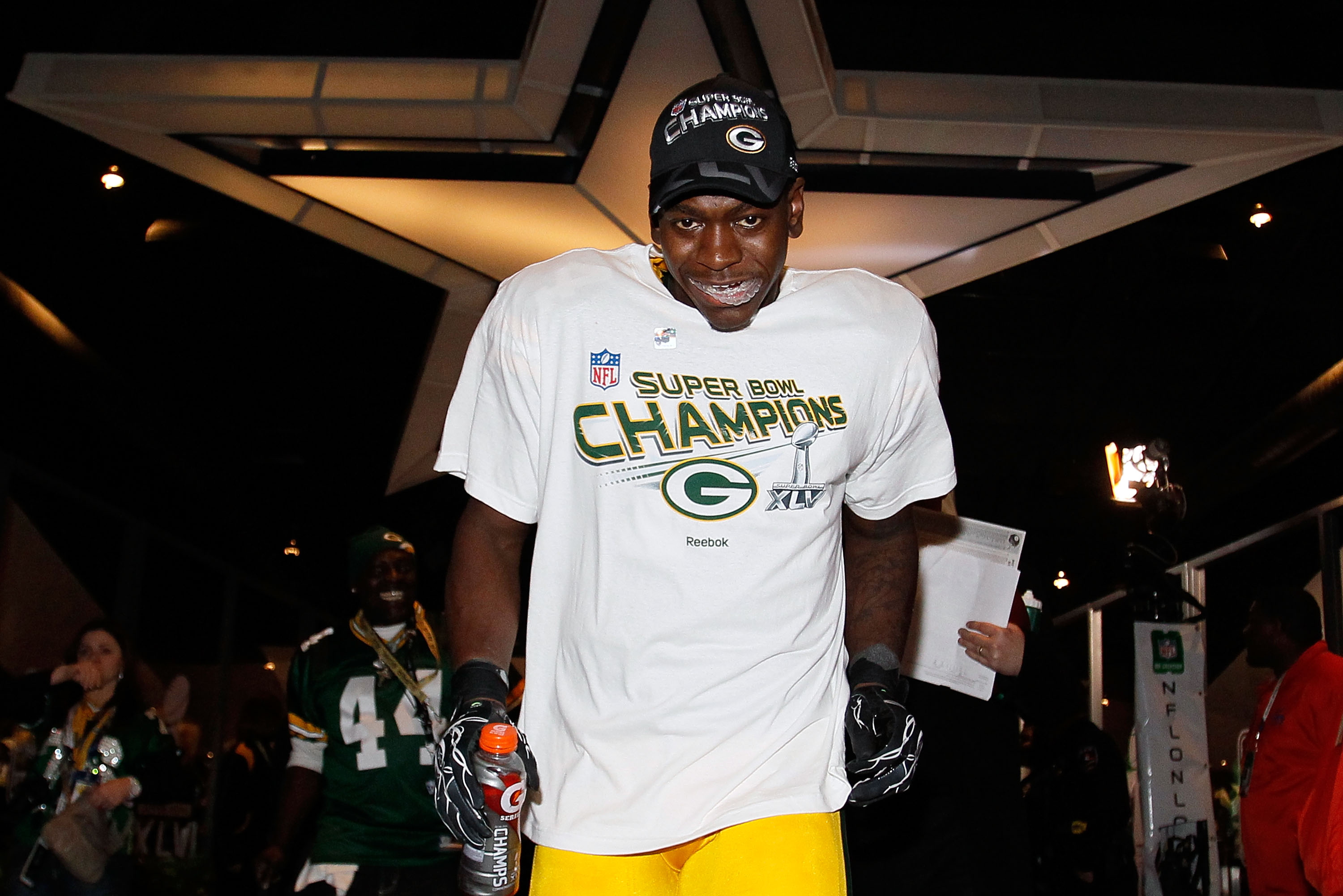 ARLINGTON, TX - FEBRUARY 06:  James Starks #44 of the Green Bay Packers celebrates after they defeated the Pittsburgh Steelers 31 to 25 during Super Bowl XLV at Cowboys Stadium on February 6, 2011 in Arlington, Texas.  (Photo by Kevin C. Cox/Getty Images)