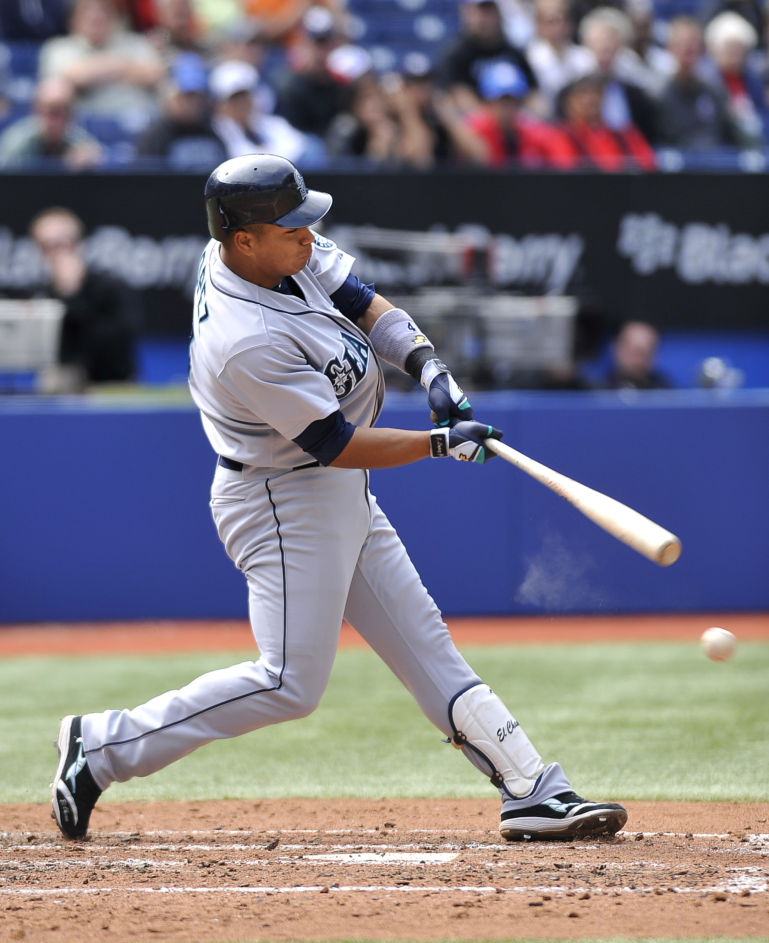 TORONTO - SEPTEMBER 23:   Jose Lopez #4 of the Seattle Mariners bats against the Toronto Blue Jays during the game on September 23, 2010 at Rogers Centre in Toronto, Ontario, Canada. The Blue Jays defeated the Mariners 1-0. (Photo by Brad White/Getty Imag
