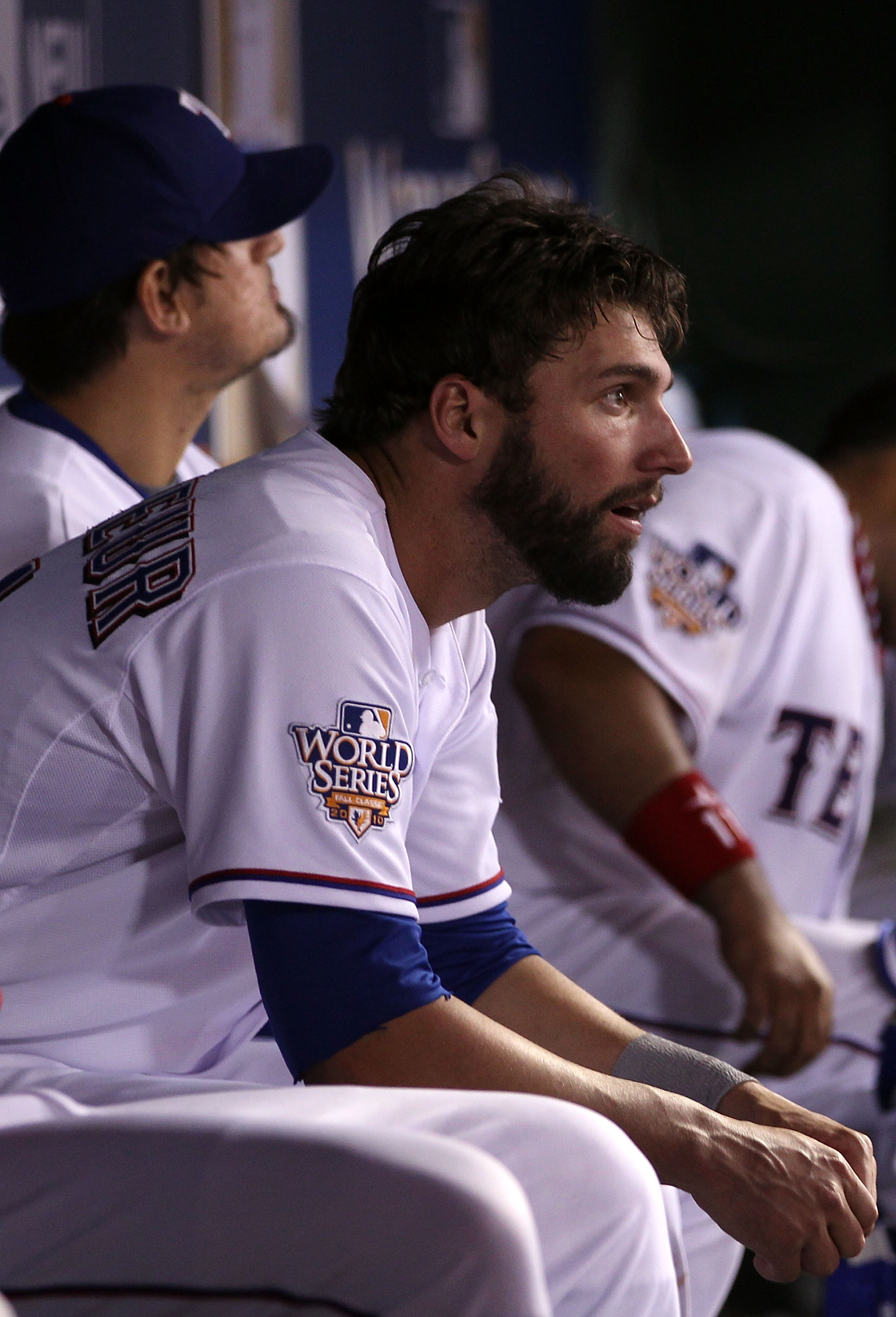 ARLINGTON, TX - OCTOBER 31:  Jeff Francoeur #21 of the Texas Rangers looks on dejected from the dugout against the San Francisco Giants in Game Four of the 2010 MLB World Series at Rangers Ballpark in Arlington on October 31, 2010 in Arlington, Texas.  (P