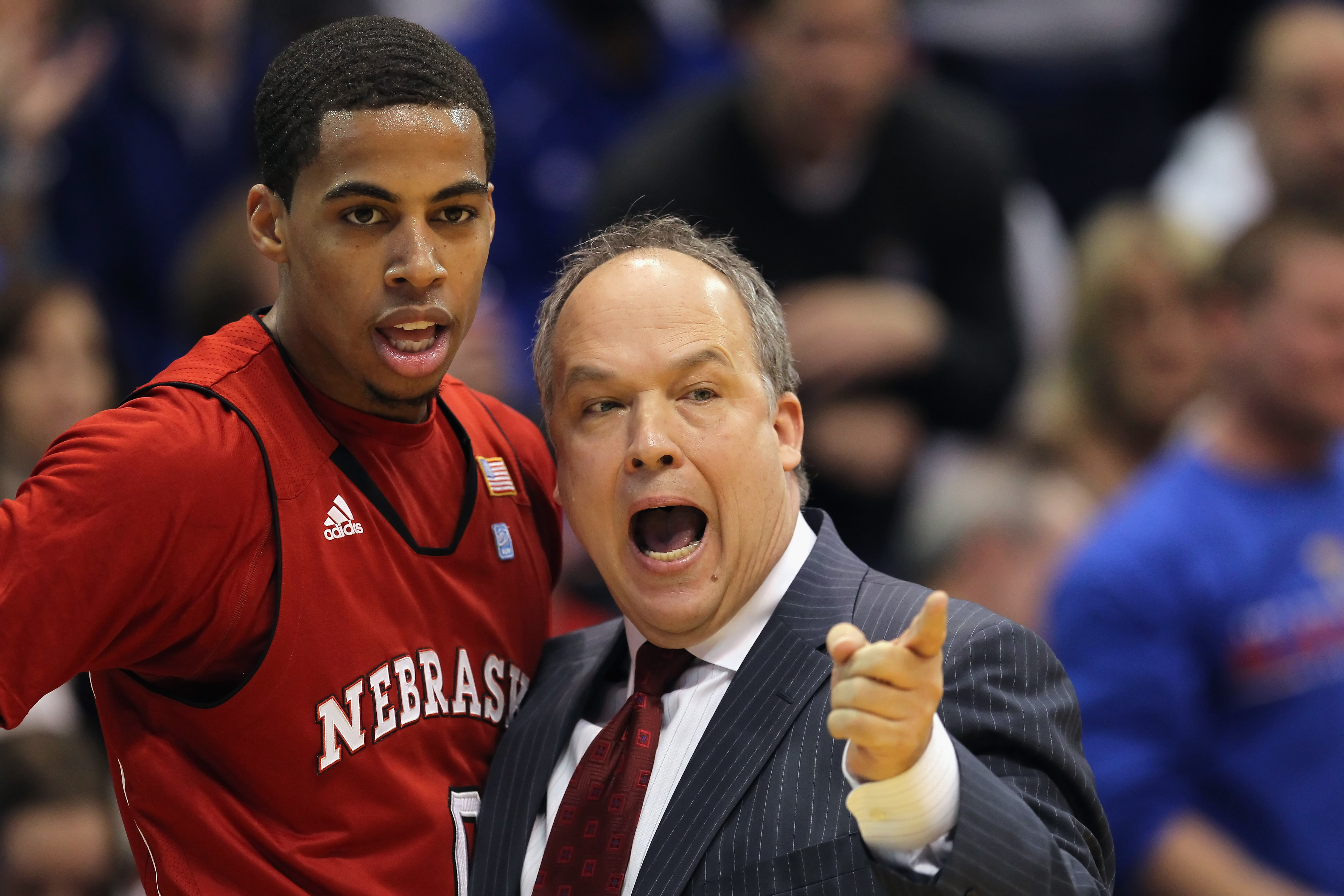 LAWRENCE, KS - JANUARY 15:  Head coach Doc Sadler of the Nebraska Cornhuskers instructs Toney McCray #0 during the game against the Kansas Jayhawks on January 15, 2011 at Allen Fieldhouse in Lawrence, Kansas.  (Photo by Jamie Squire/Getty Images)