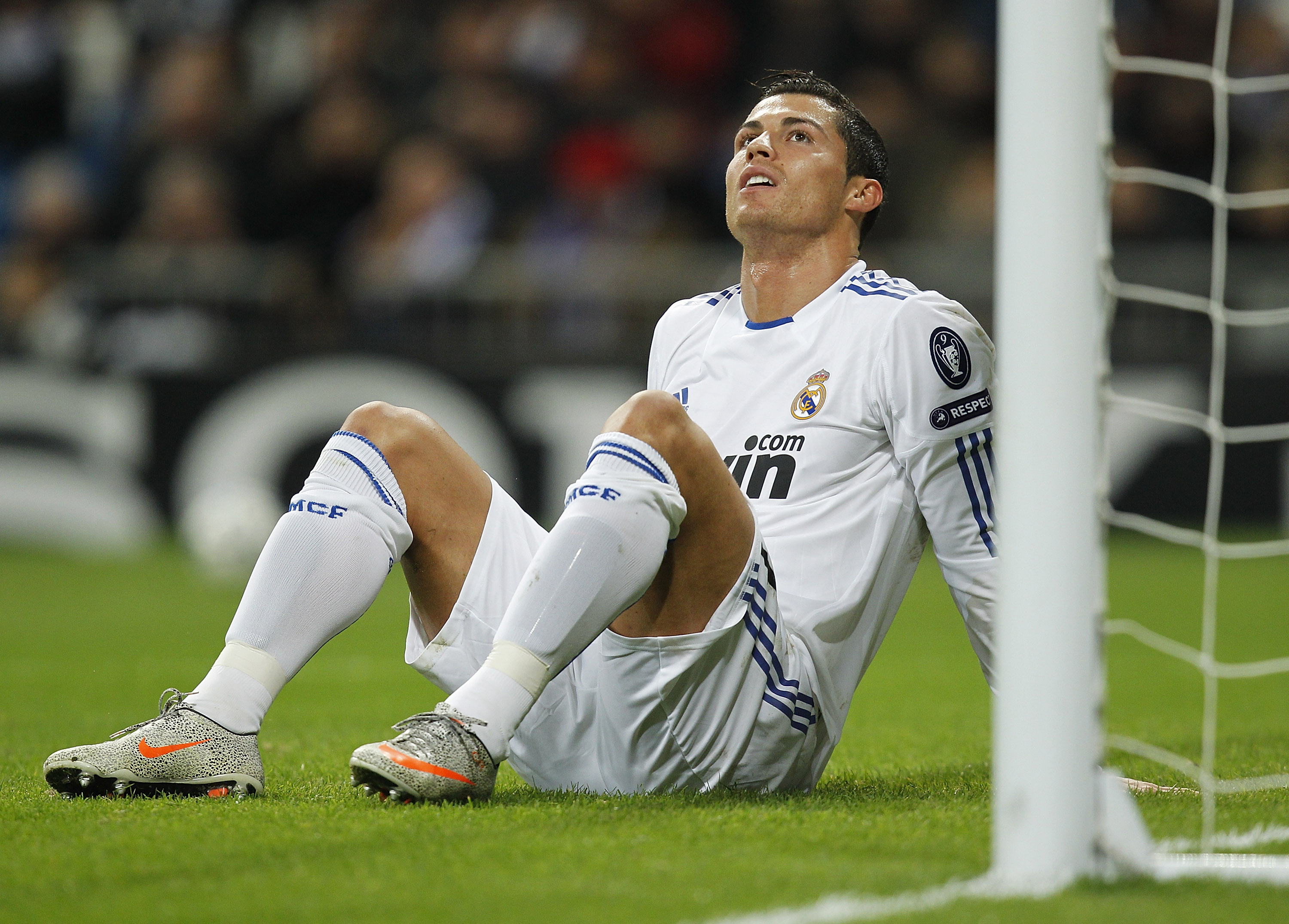 MADRID, SPAIN - DECEMBER 08:  Cristiano Ronaldo of Real Madrid reacts during the Champions League group G match between Real Madrid and AJ Auxerre at Estadio Santiago Bernabeu on December 8, 2010 in Madrid, Spain.  (Photo by Angel Martinez/Getty Images)