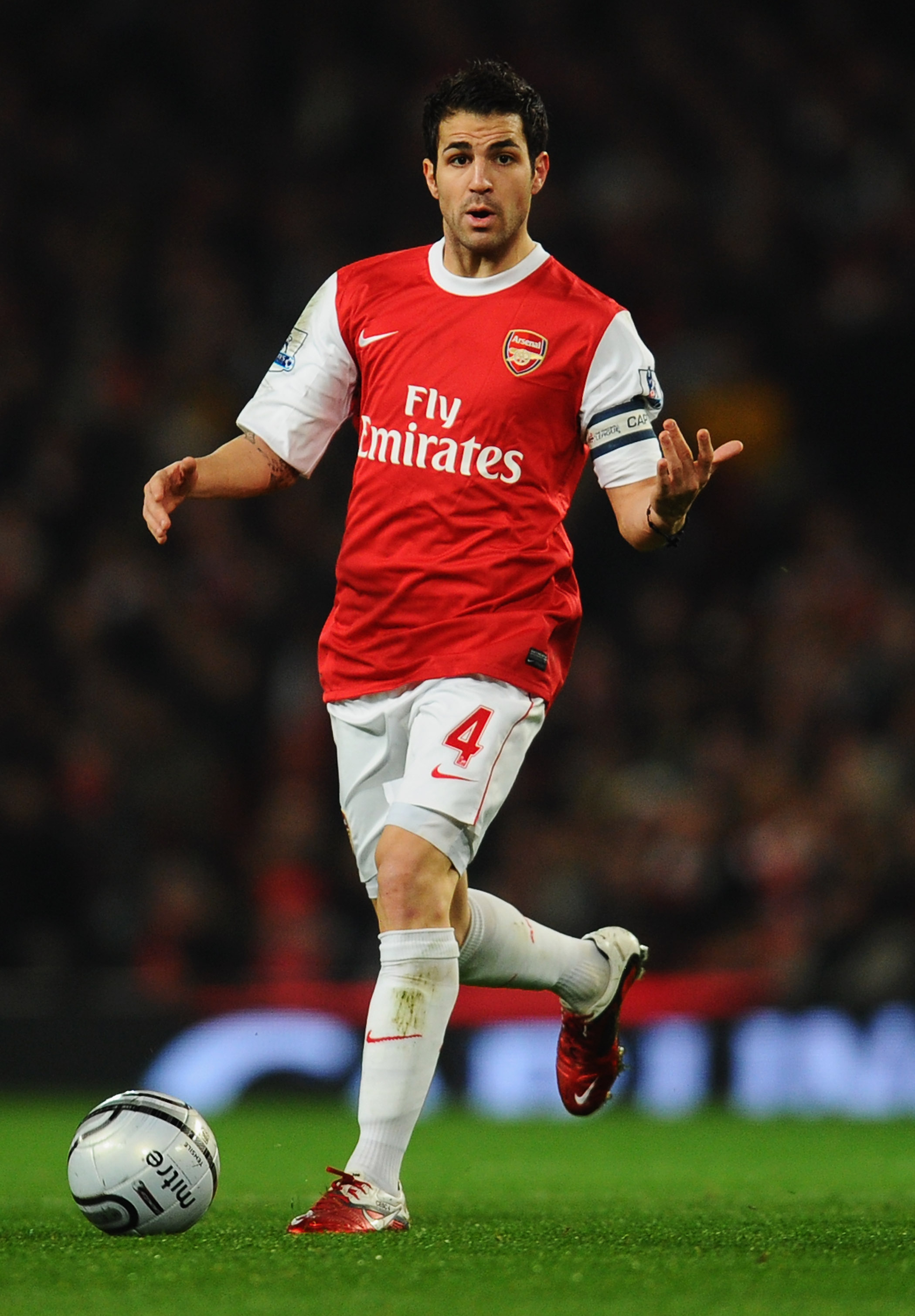 LONDON, ENGLAND - JANUARY 25:  Cesc Fabregas of Arsenal in action during the Carling Cup Semi Final Second Leg match between Arsenal and Ipswich Town at Emirates Stadium on January 25, 2011 in London, England.  (Photo by Clive Mason/Getty Images)