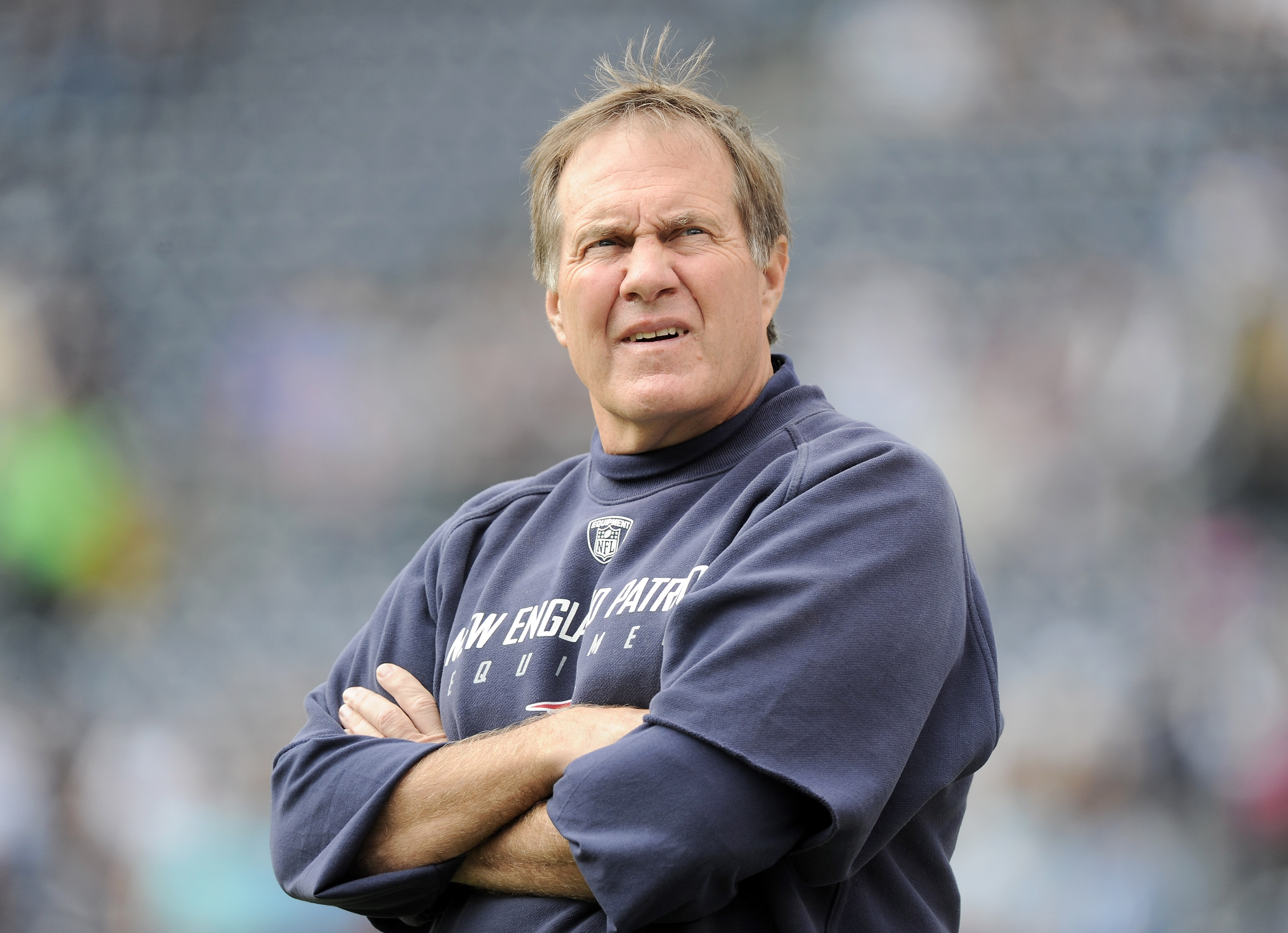 SAN DIEGO - OCTOBER 24:  Head Coach Bill Belichick of the New England Patriots during warm up against the San Diego Chargers at Qualcomm Stadium on October 24, 2010 in San Diego, California.  (Photo by Harry How/Getty Images)