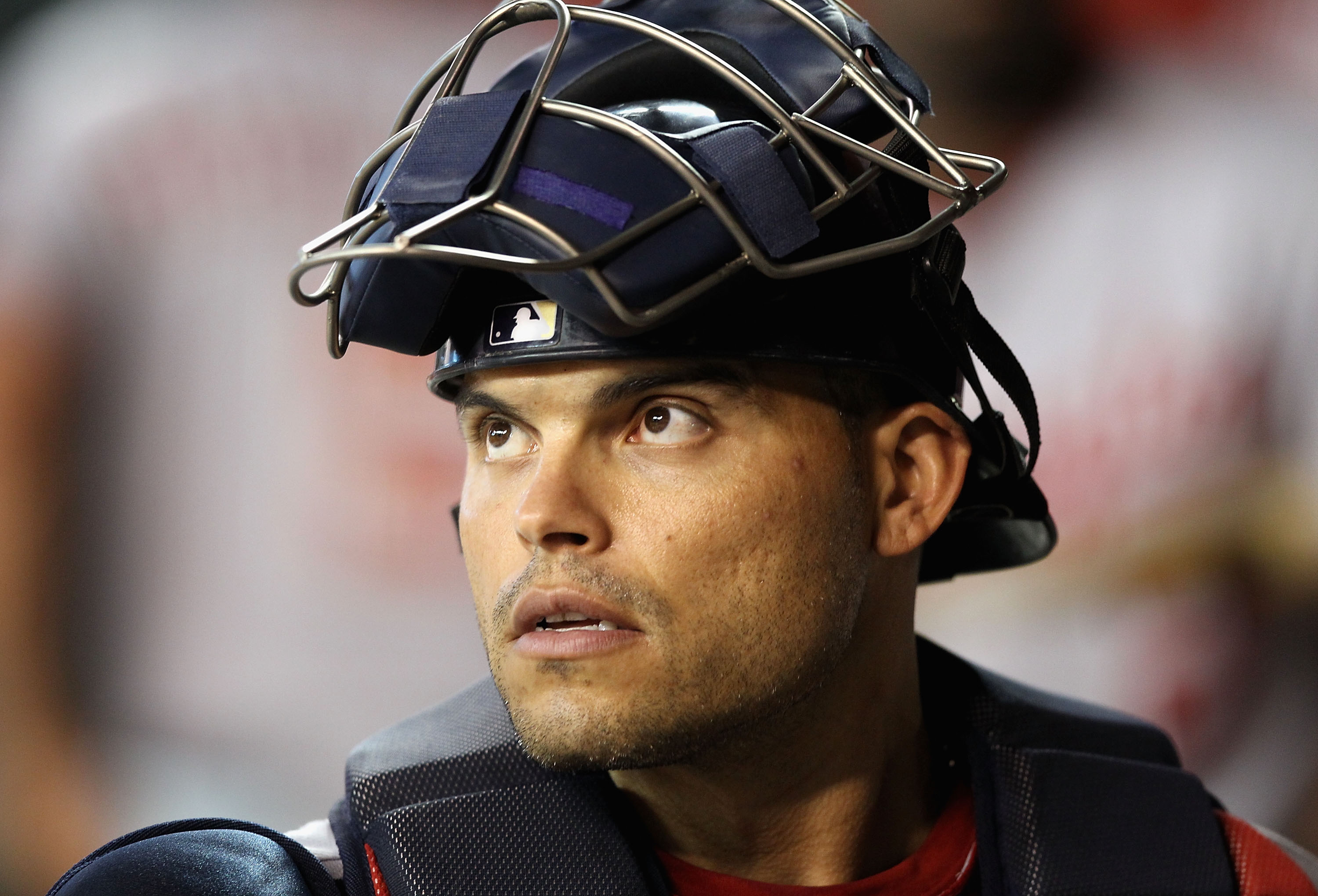 PHOENIX - AUGUST 04:  Catcher Ivan Rodriguez #7 of the Washington Nationals in the dugout during the Major League Baseball game against the Arizona Diamondbacks at Chase Field on August 4, 2010 in Phoenix, Arizona.  The Nationals defeated the Diamondbacks