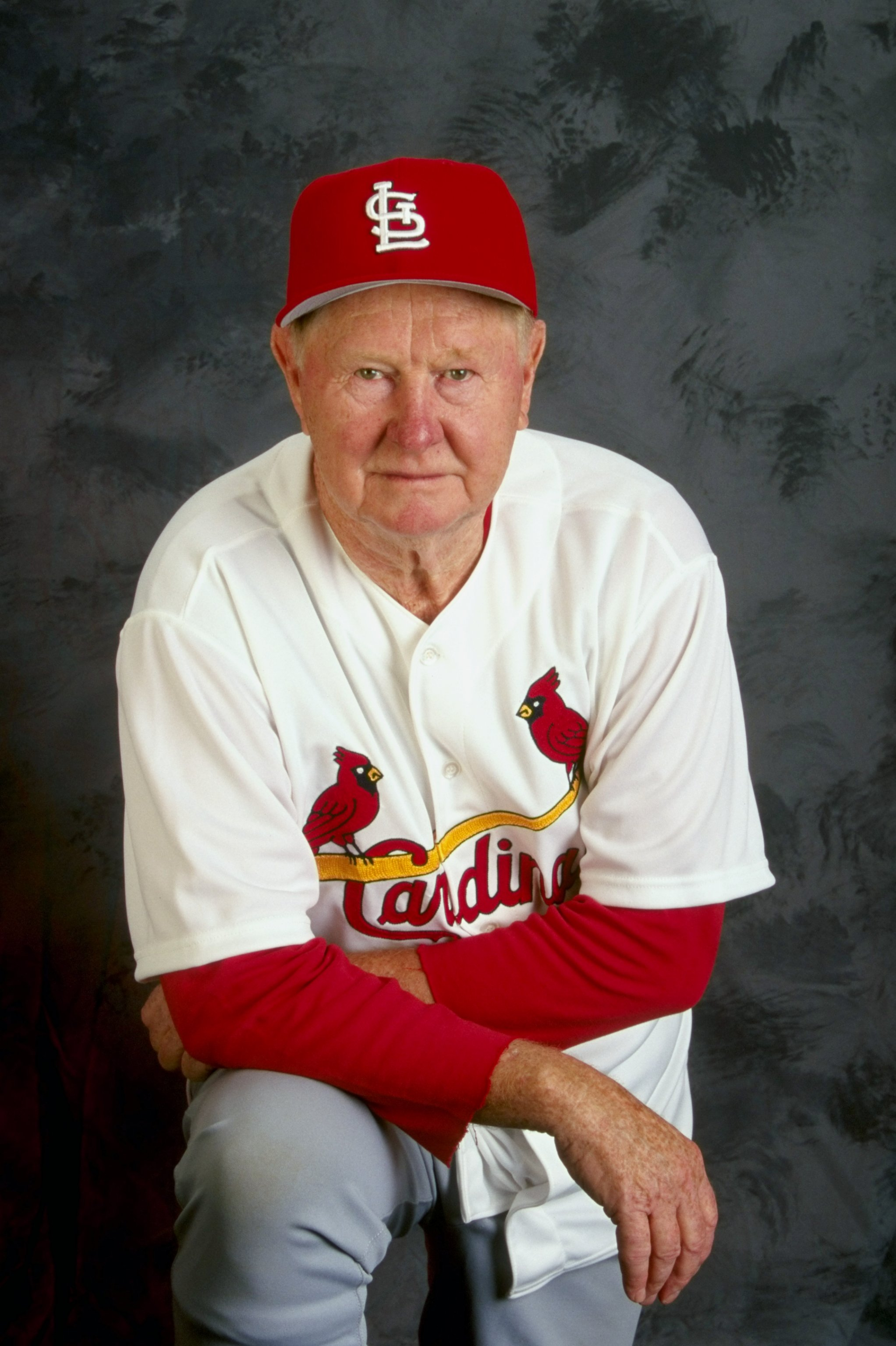 28 Feb 1999: Red Schoendienst #2 of the St. Louis Cardinals poses for a studio portrait on Photo Day during Spring Training at the Roger Dean Stadium in Jupiter, Florida.
