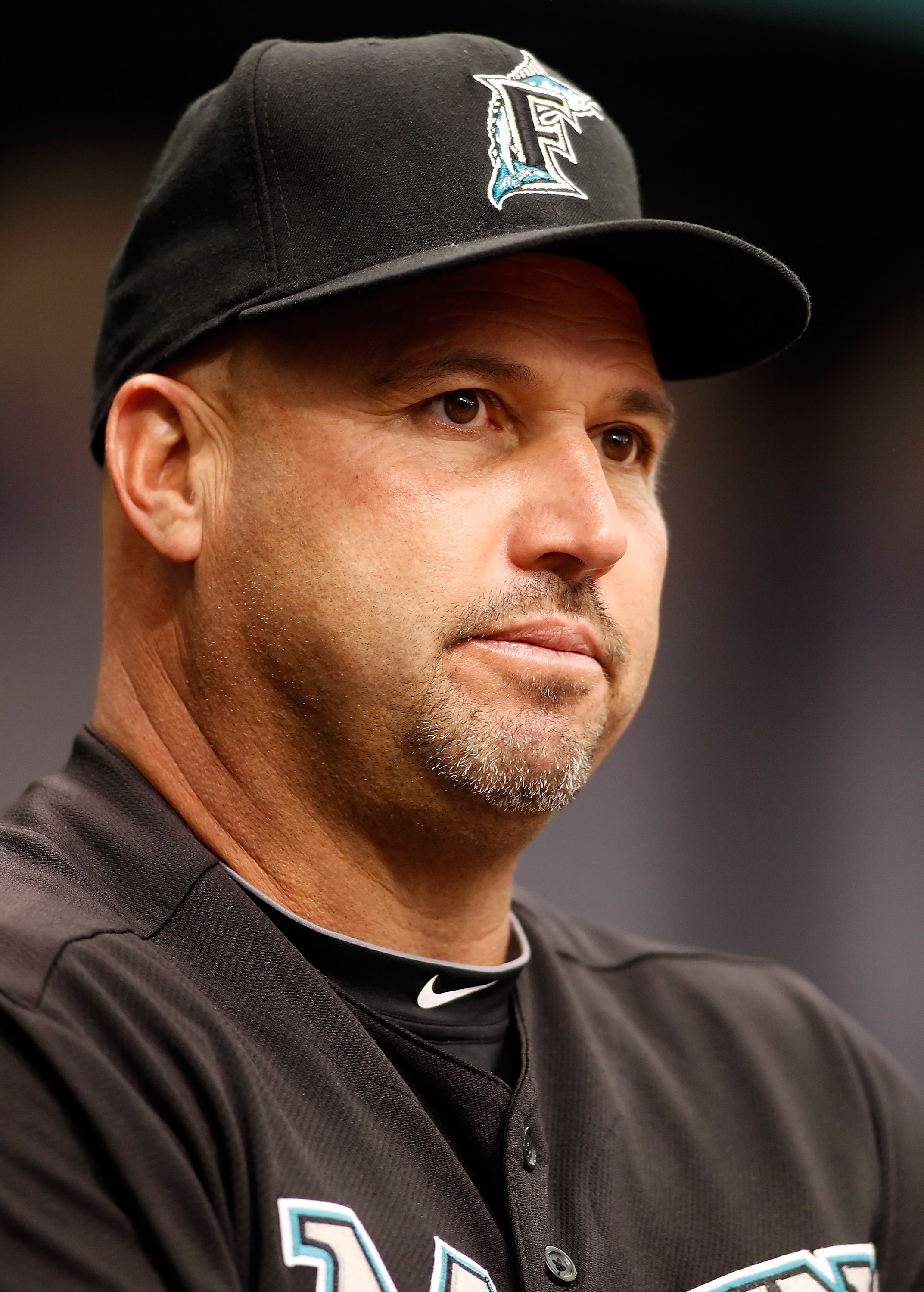 ST. PETERSBURG, FL - JUNE 13:  Manager Fredi Gonzalez #33 of the Florida Marlins watches his team against the Tampa Bay Rays during the game at Tropicana Field on June 13, 2010 in St. Petersburg, Florida.  (Photo by J. Meric/Getty Images)